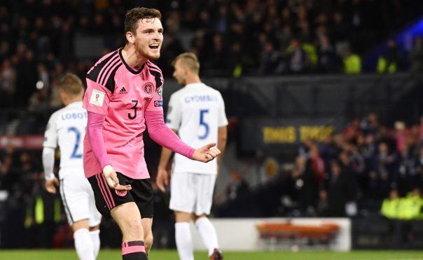 Andy Robertson enjoying Scotland's victory.