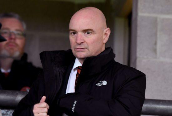 United chairman Stephen Thompson at Dumbarton on Saturday.