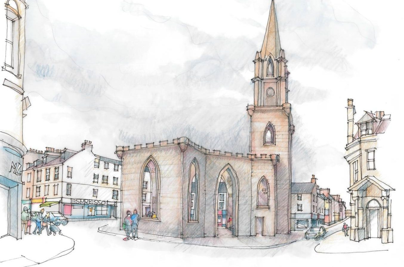 An artists impression of the outdoor space at St Paul's Church, Perth.
