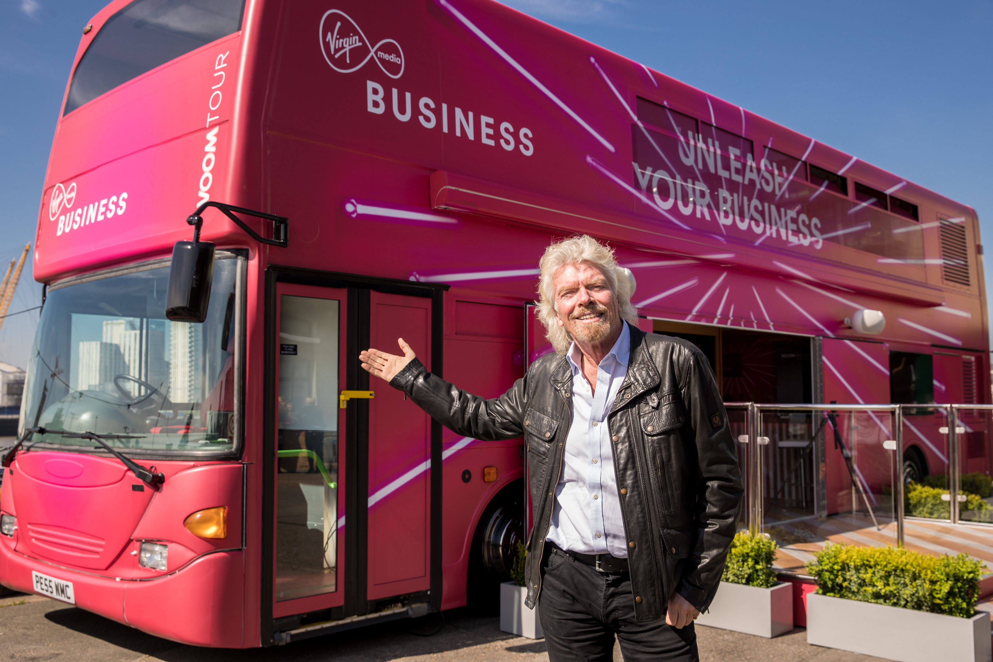 Sir Richard Branson with Virgin Media Business' Voom bus.