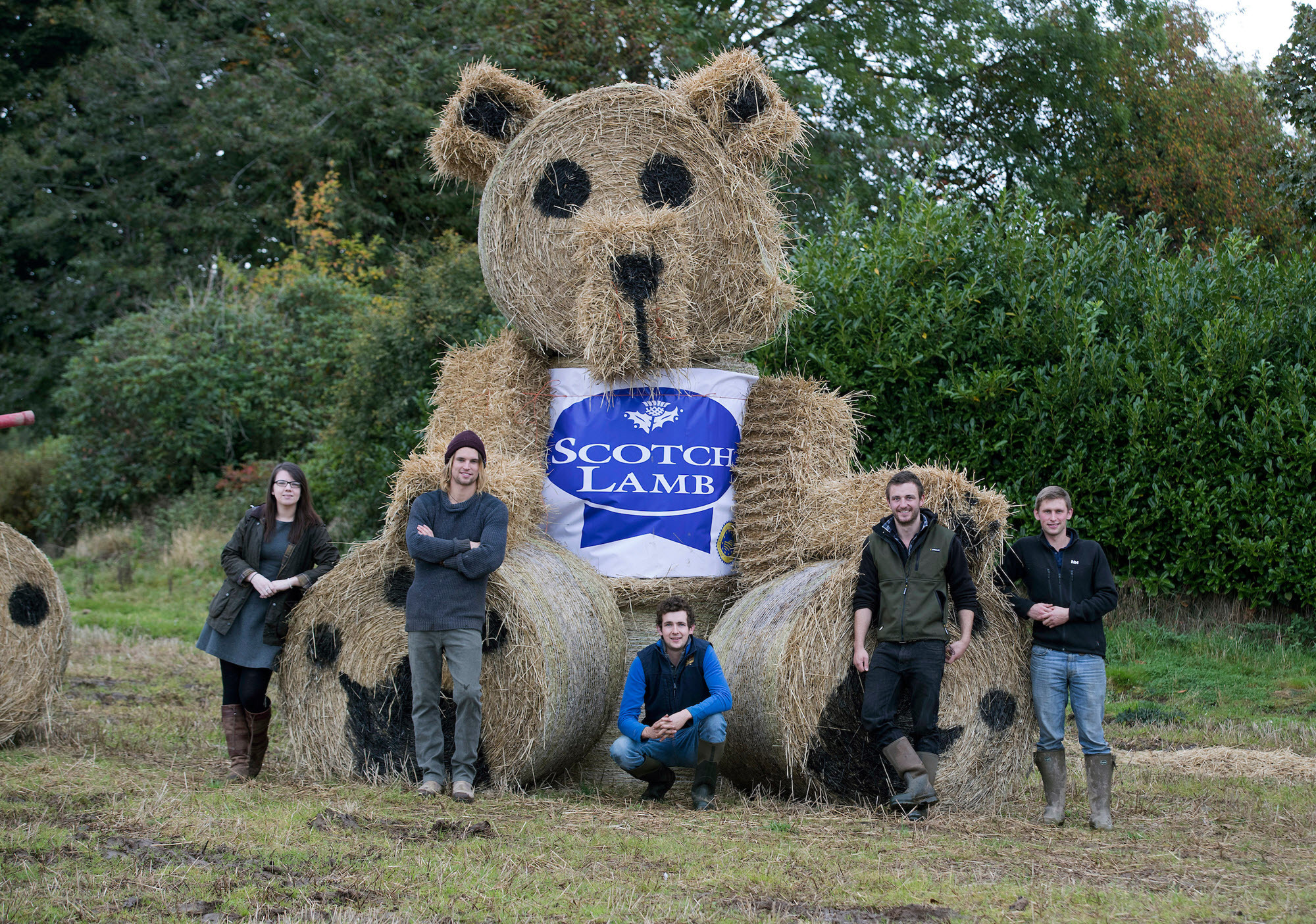 Bankfoot JAC with their winning teddy bear band straw bale artwork
