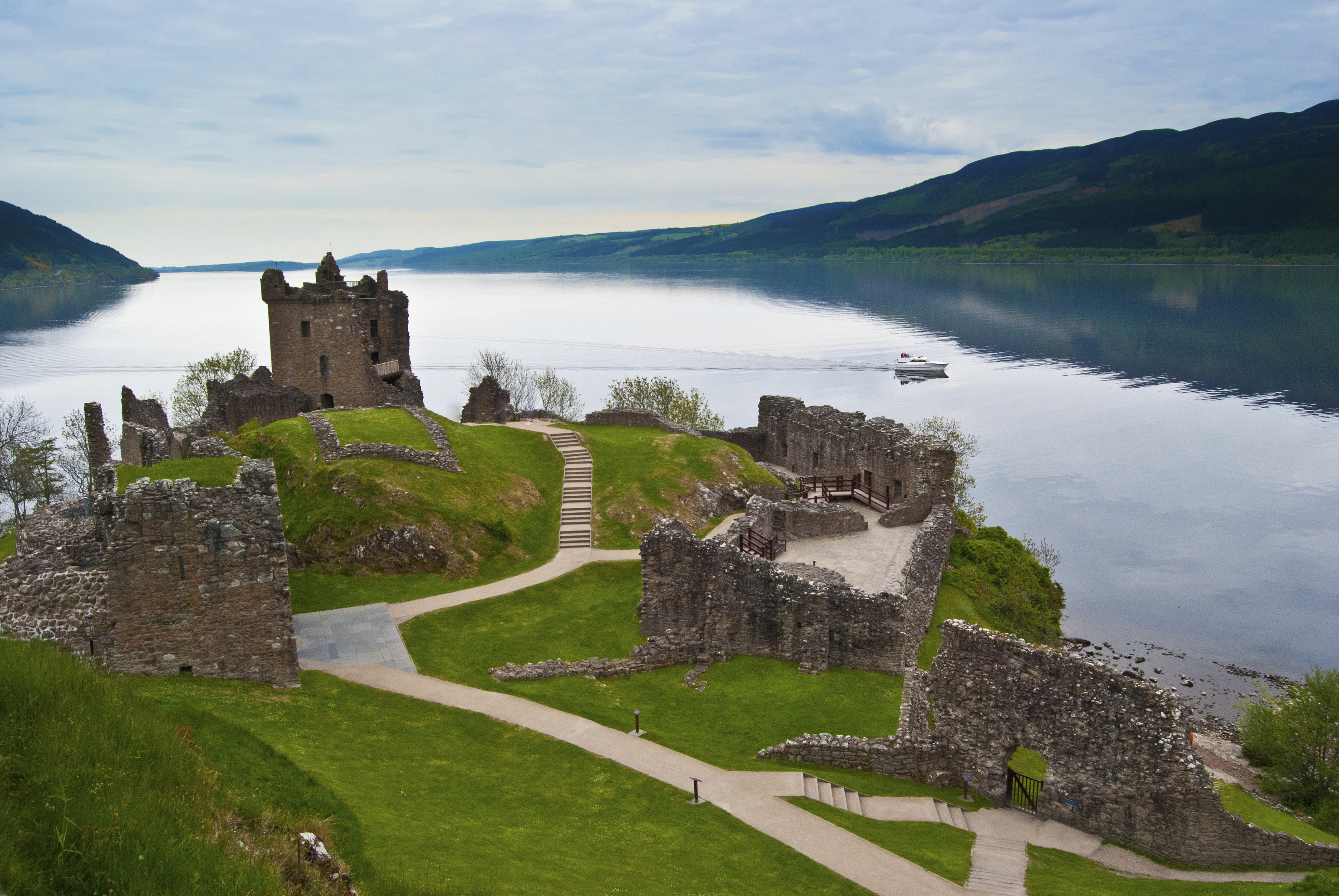 Urquhart Castle on the banks of Loch Ness.