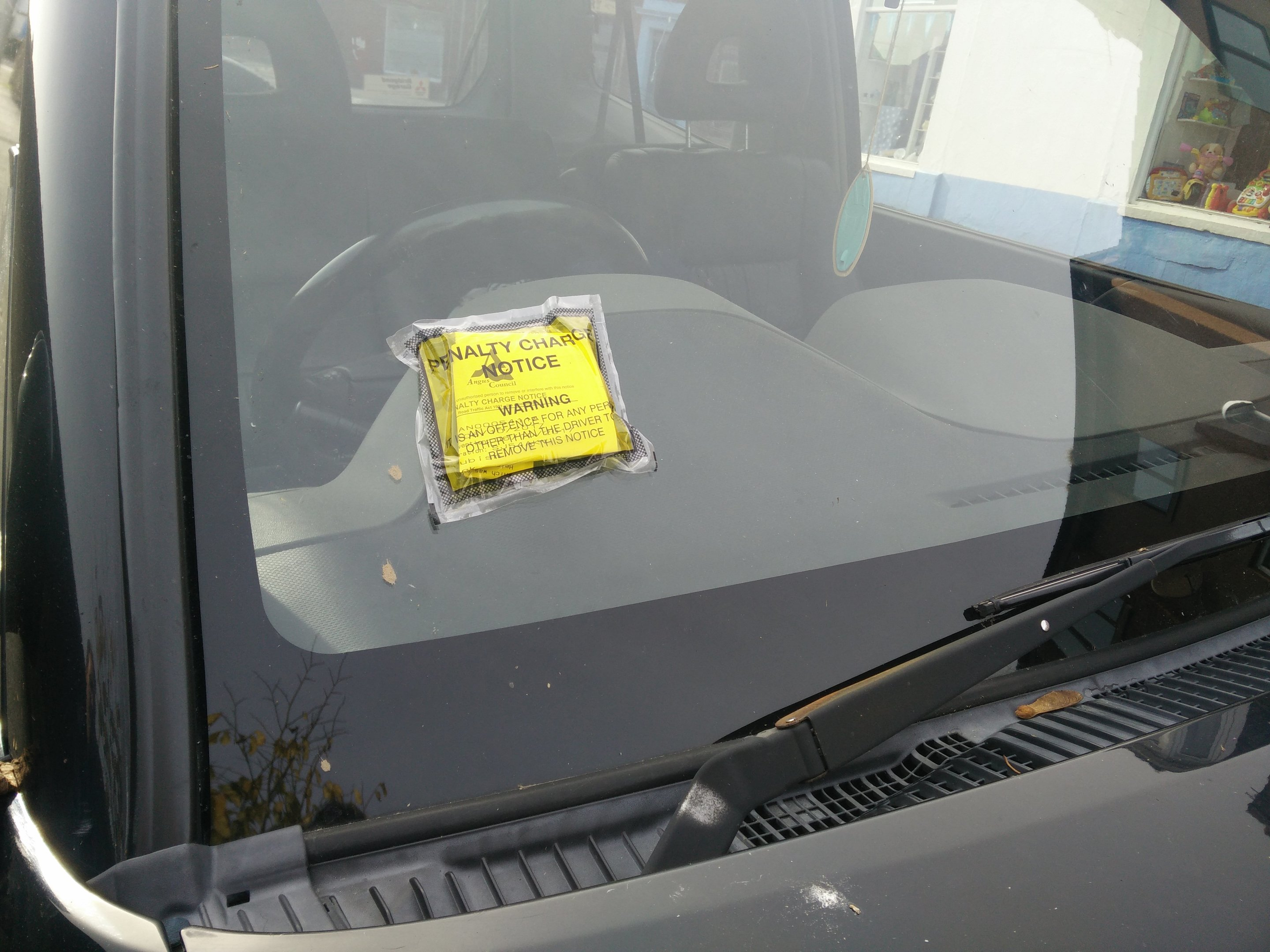 A vehicle in Arbroath which was hit with a fine at the weekend.
