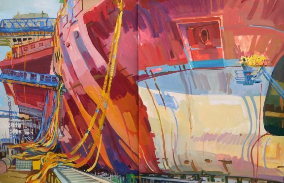 Goudie's image of the aircraft carriers assembled at Rosyth