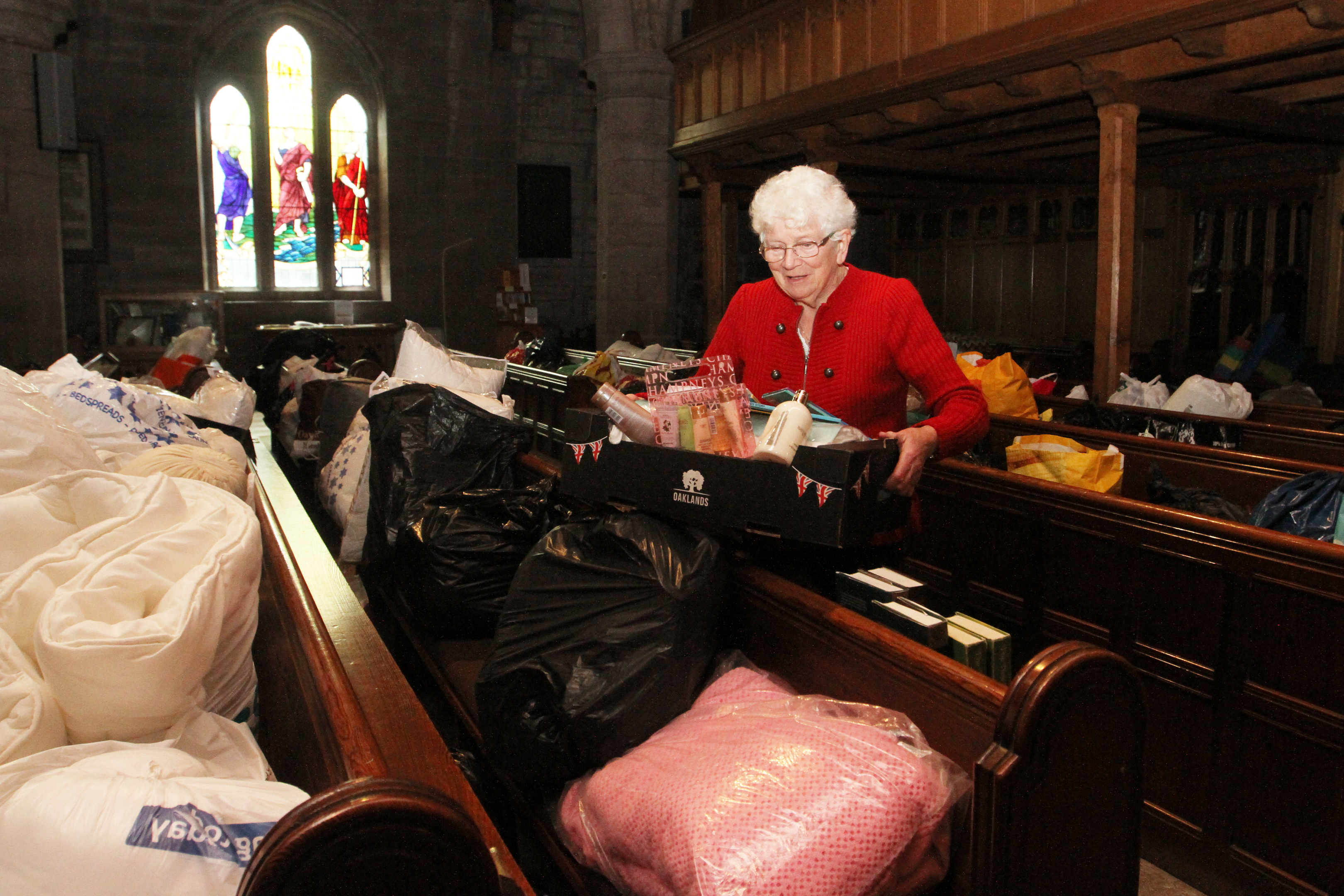 Irene Gillies with some of the donations at Brechin cathedral