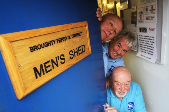 Graham Smith, Alex Harvey and Bob Stewart celebrate the opening of Broughty Ferry Men's Shed.