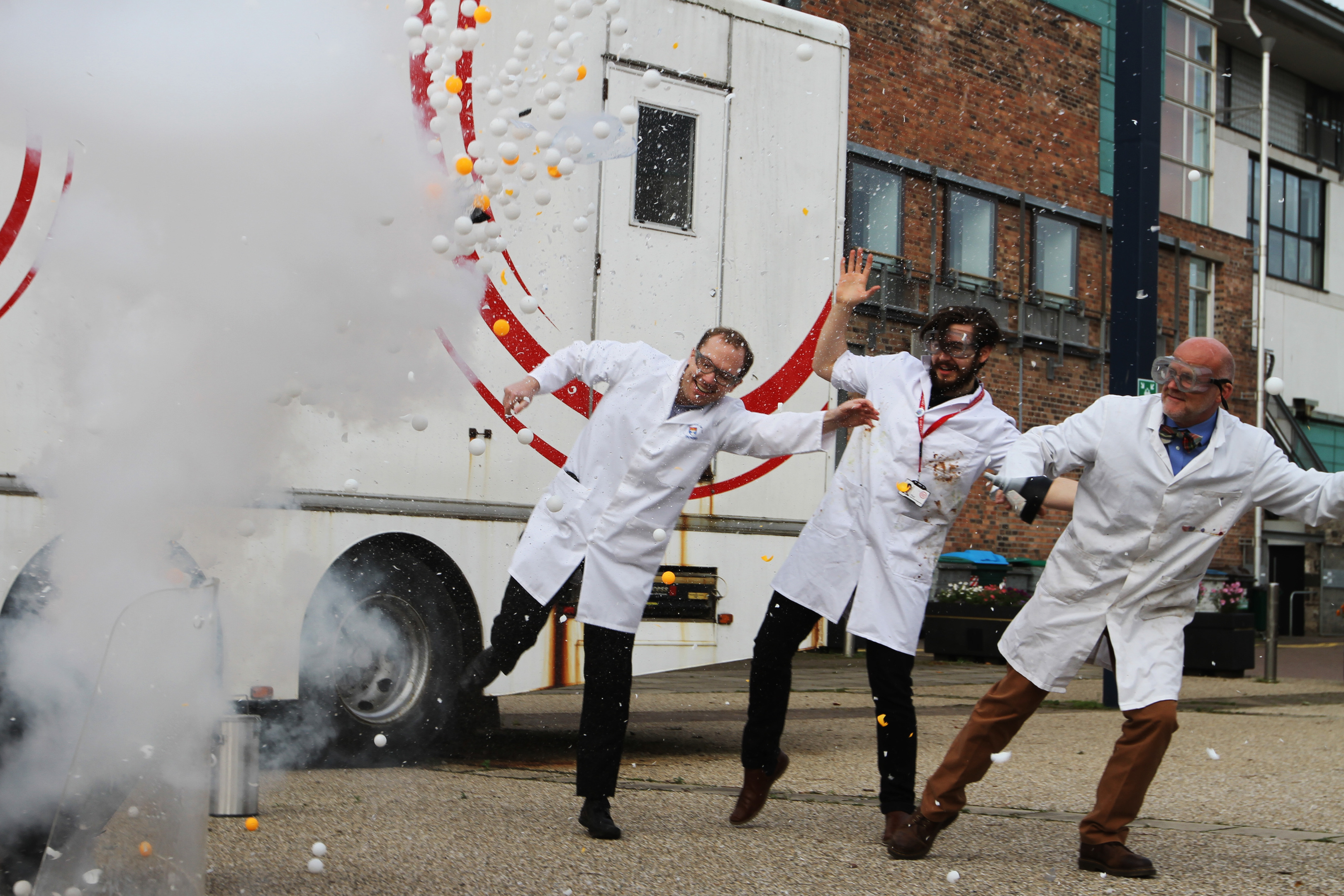 Scientists from Dundee Science Centre have officially launched Dundee Science Festival with an icy blaze of liquid nitrogen.  Picture shows; Dr David Foley, Festivals and Community Engagement Officer Paul Strachan and Dr David Wharton set off the explosion.