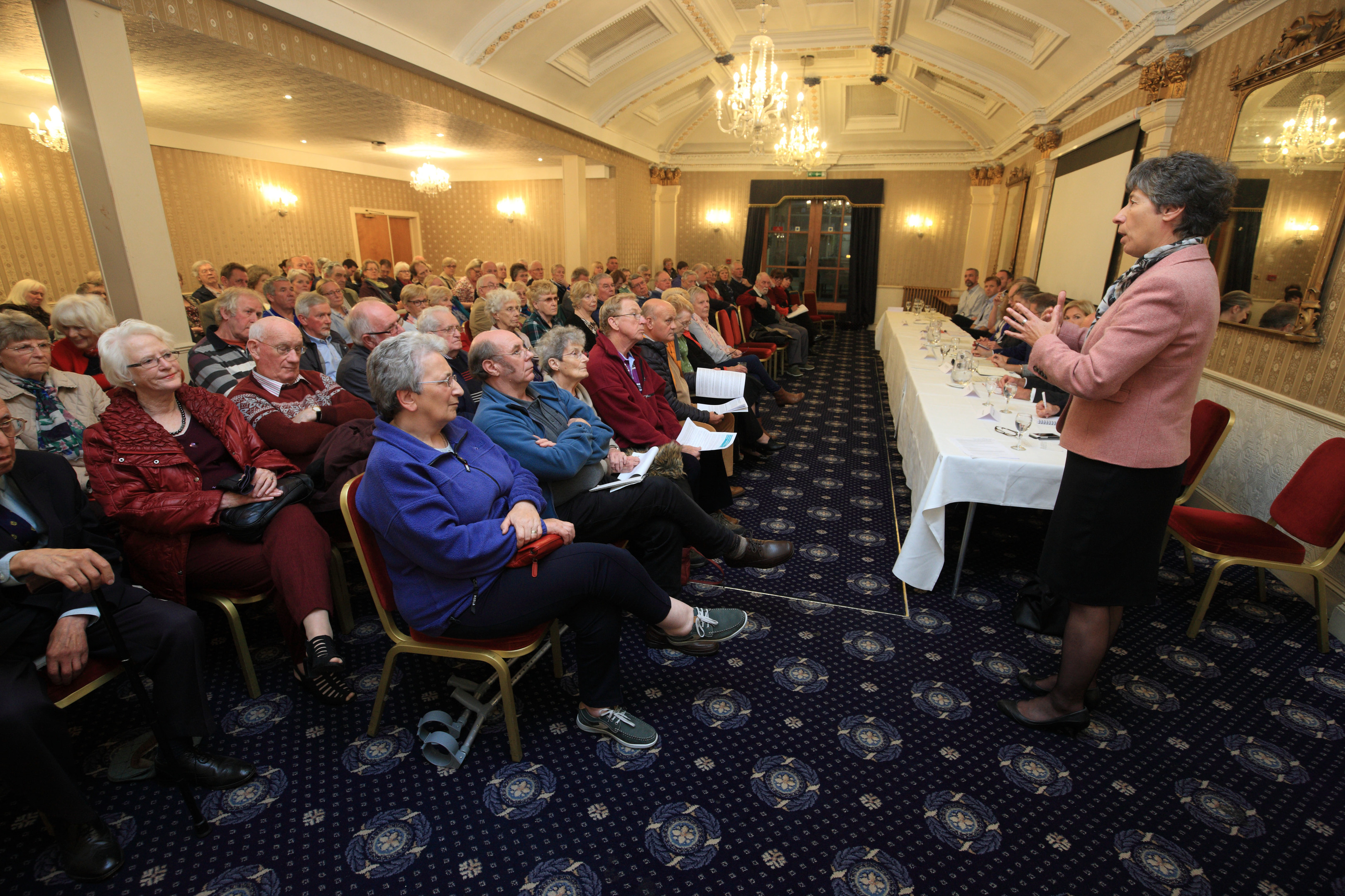 Liz Smith speaks at the Royal George Hote