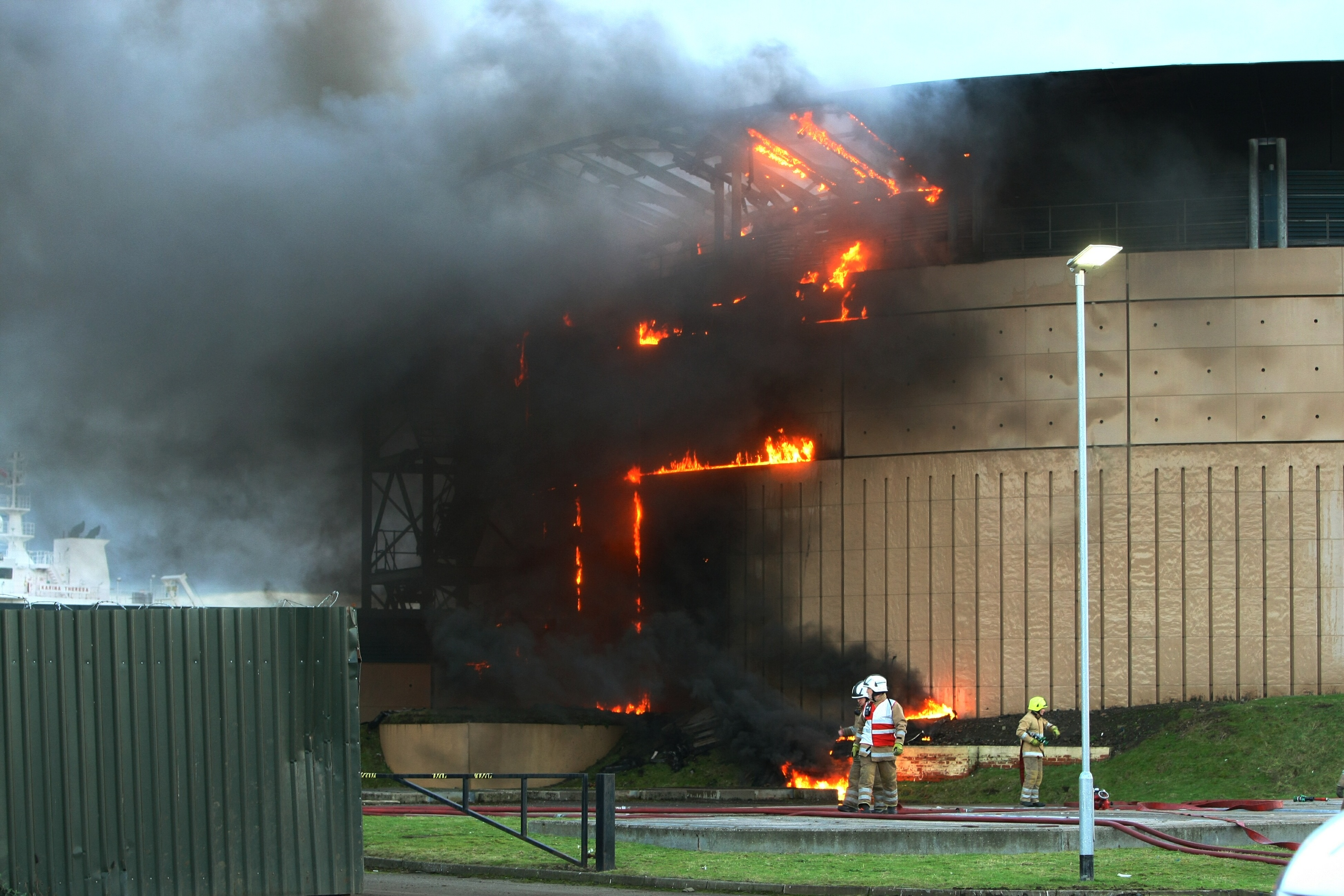 The fire at the King George V water tower on Dundee docks in February 2017
