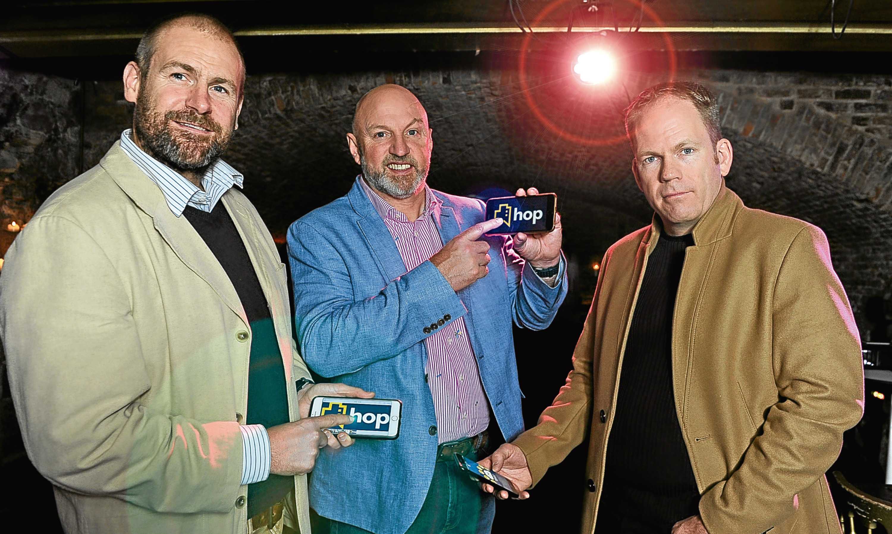 Richard Drummond, owner of McKays Hotel in Pitlochry, (centre) with HOP Software investors Jon Erasmus (left) and Ronald Tweedie (right).