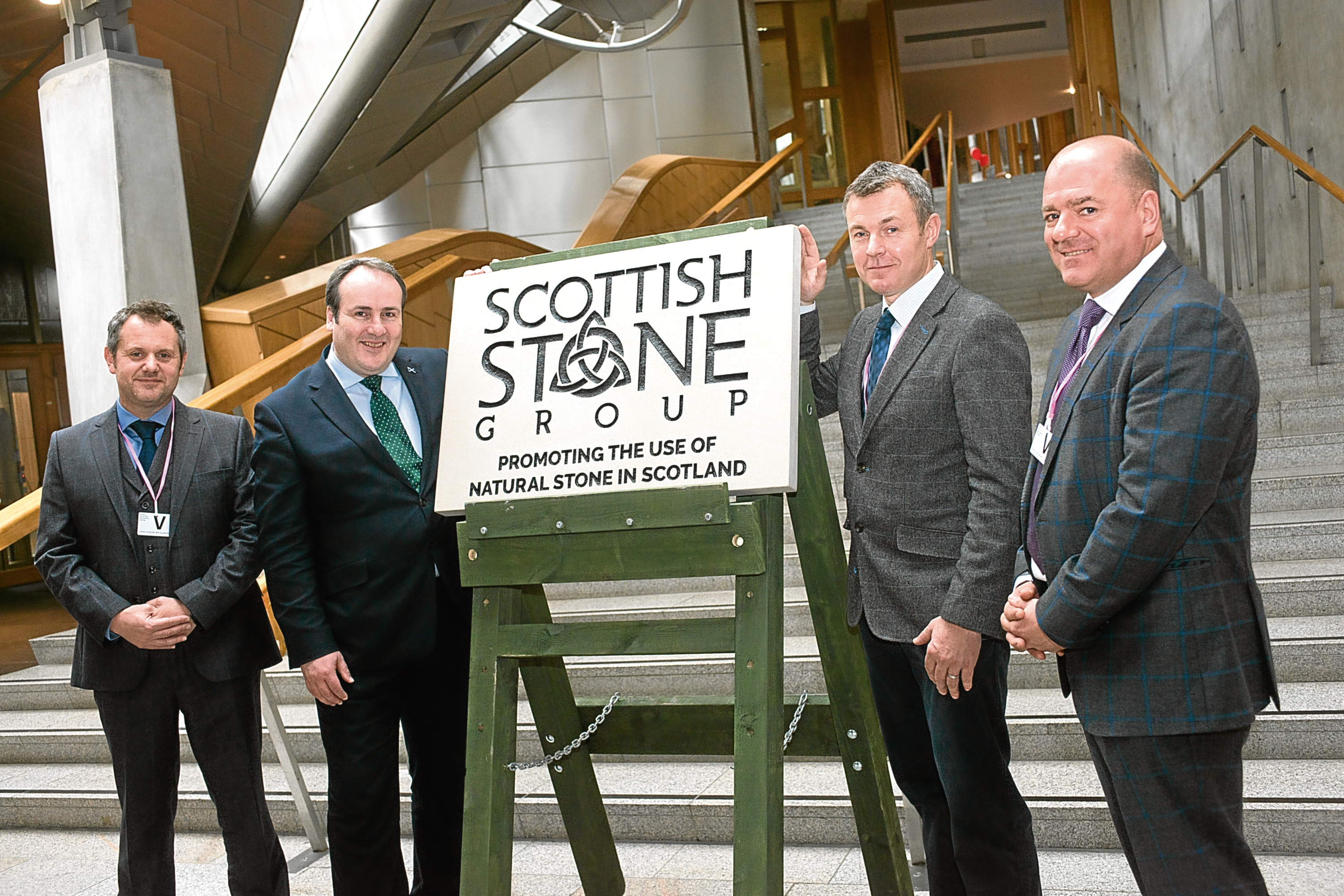 Paul Wheelhouse MSP (second from left) meets with the founding members of Scottish Stone Group (L-R) Marcus Paine (Hutton Stone), Peter Stewart (Tradstocks) and Brian Binnie (Denfind Stone).