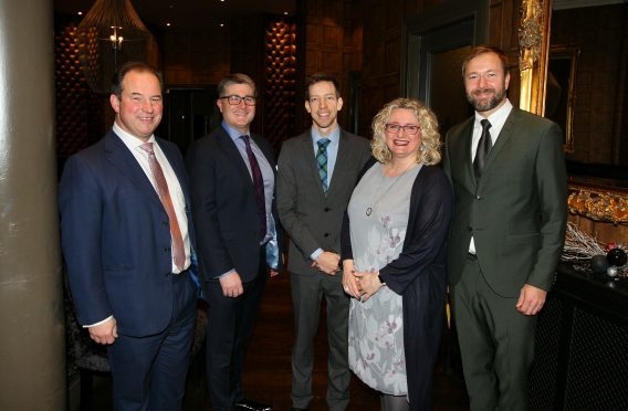 Pictured are the main speakers, Tim Allan (president Scottish Chambers), Colin Loveday (Chamber president), John Alexander (Dundee Council leader), Alison Henderson, Chamber chief executive, and Fredrik Haggblom (CEO at Agenda Retail).