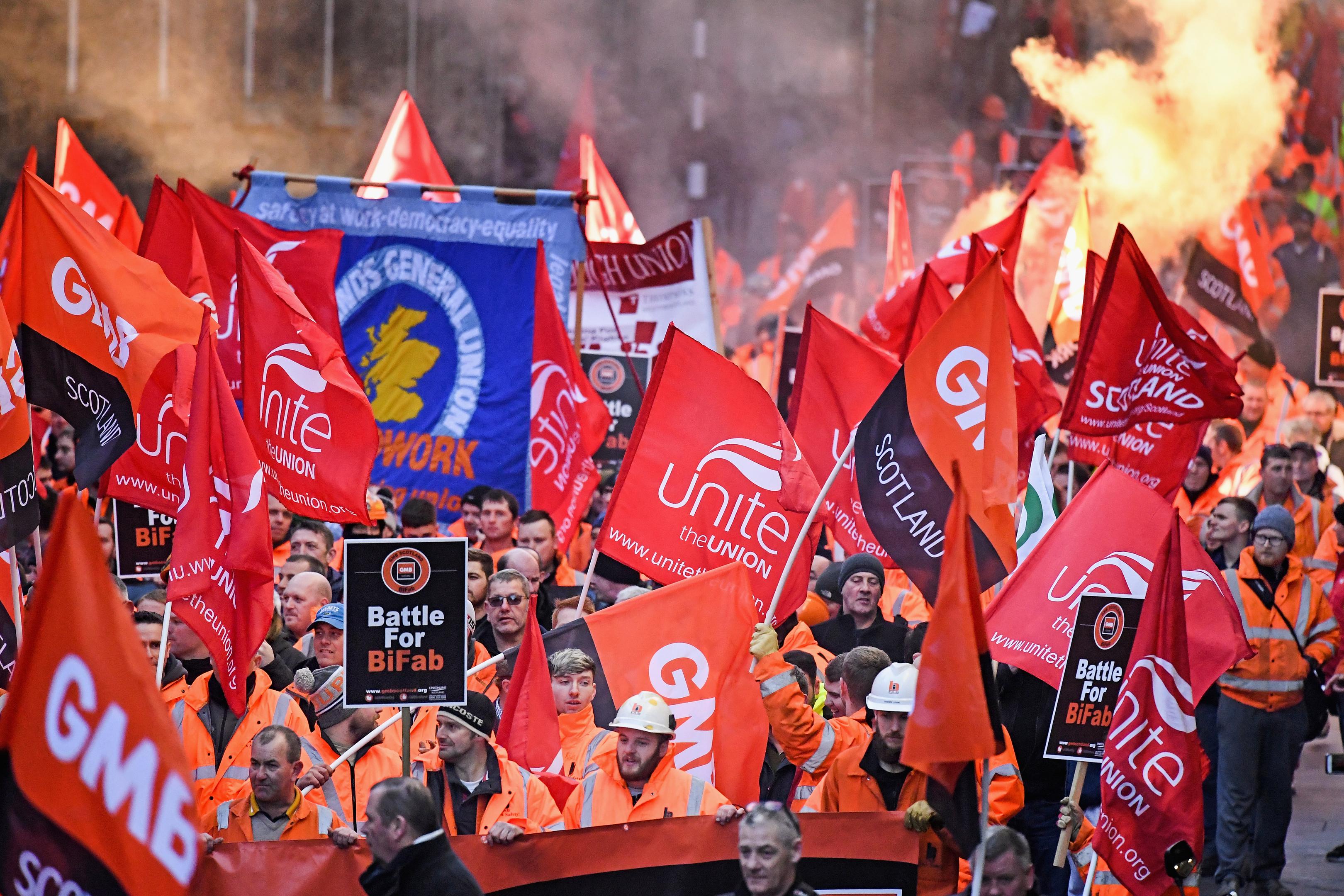 Workers from engineering firm BiFab held a demonstration in Edinburgh.