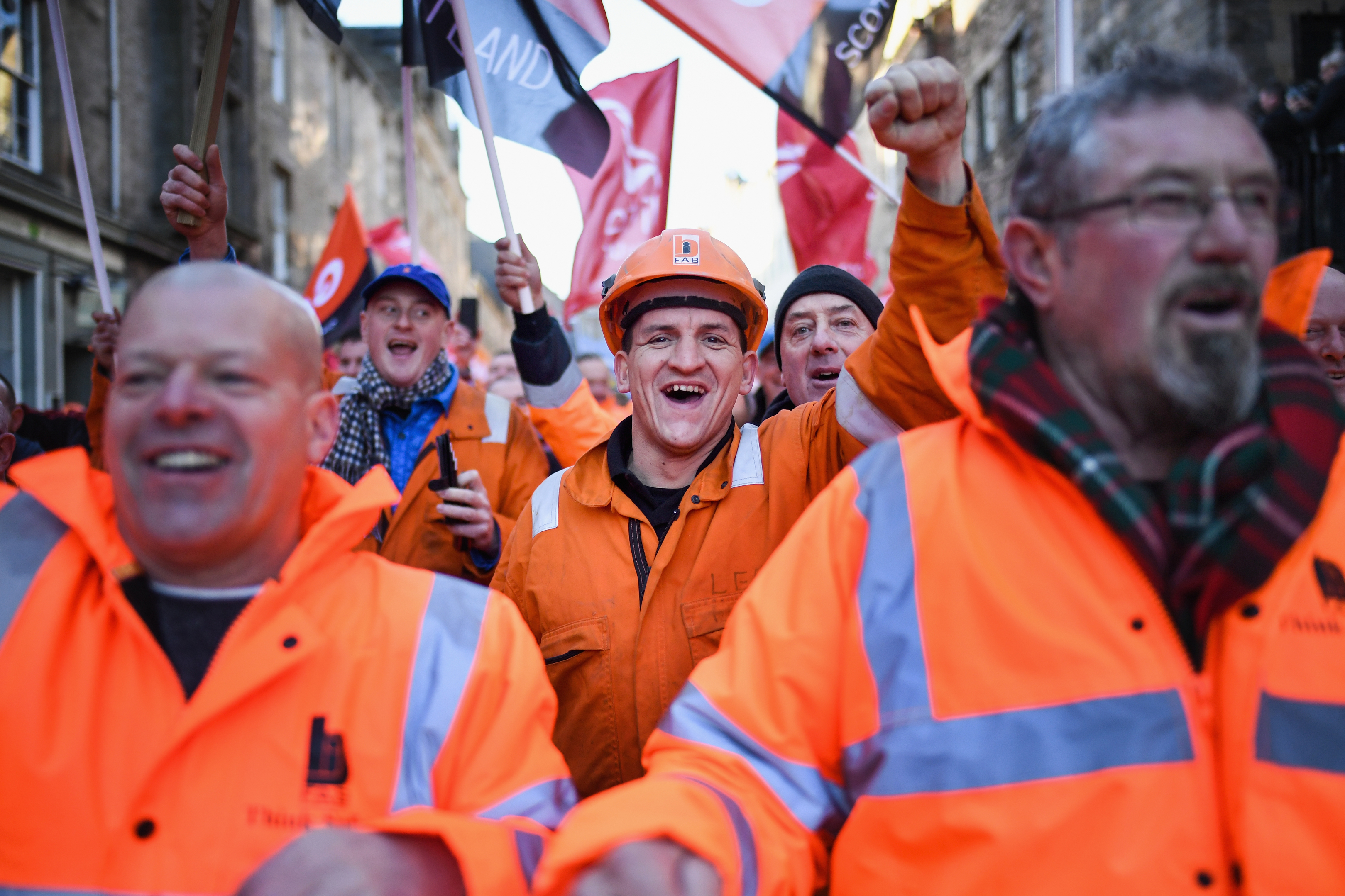 BiFab workers marching on the Scottish Parliament