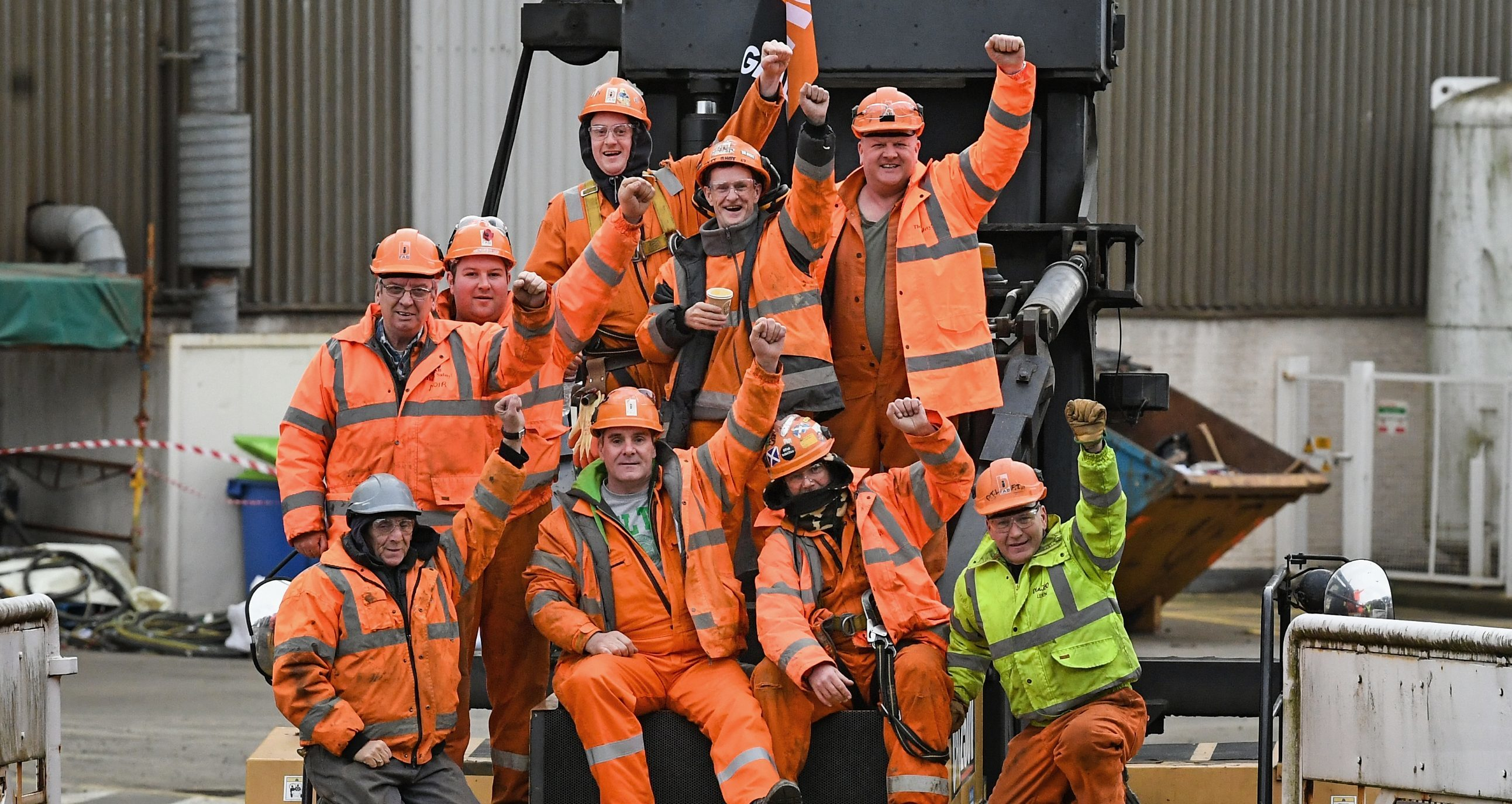 A group of BiFab workers at the Burntisland yard.