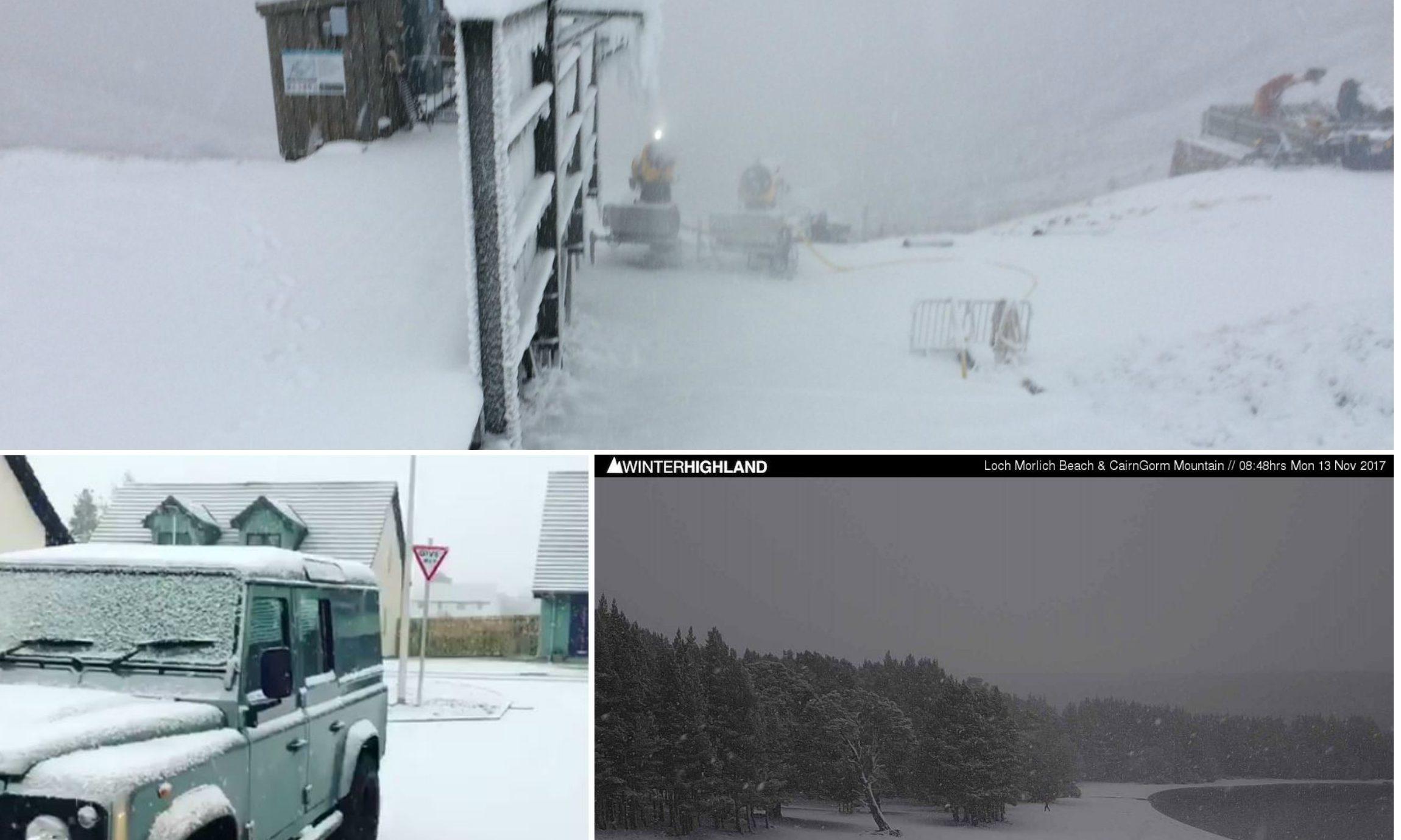 Snow hit Scotland this morning. Credit: Cairngorm Mountain Ltd/Highland Defenders