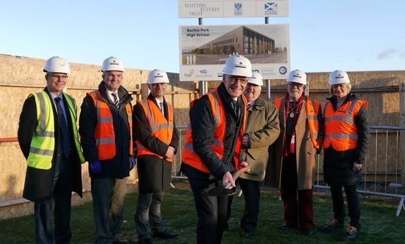 Deputy First Minister John Swinney at the turf cutting ceremony at Bertha Park High School, Perth.