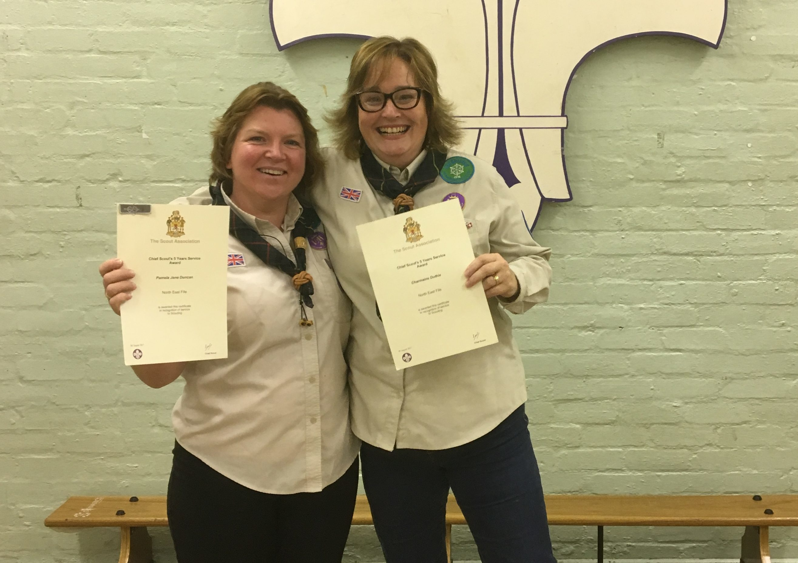 Charmaine Duthie (right) with fellow Scout leader Pam Duncan
