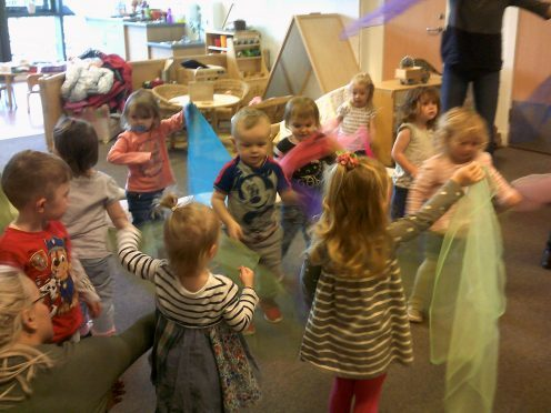 Youngsters enjoying a session with the Big Noise Orchestra in Claypotts Castle nursery recently.