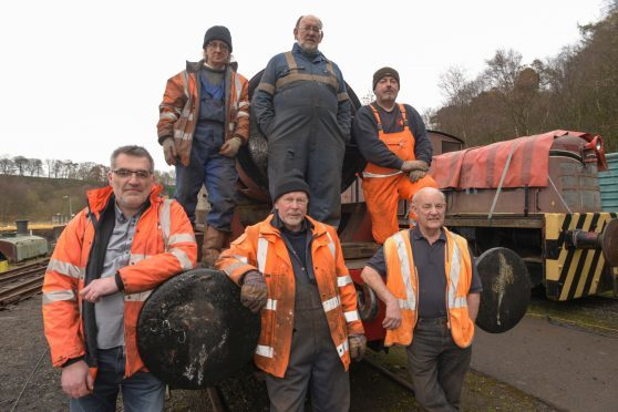 Shed47 Railway Restoration Group pictured next to a newly delivered boiler ready for restoration. Lathalmond, Fife. Top  L-R Pete Westwater, Norman Briggs, Mark Bradshaw. Bottom Grant Robertson David Coupar and Jim Paterson.
