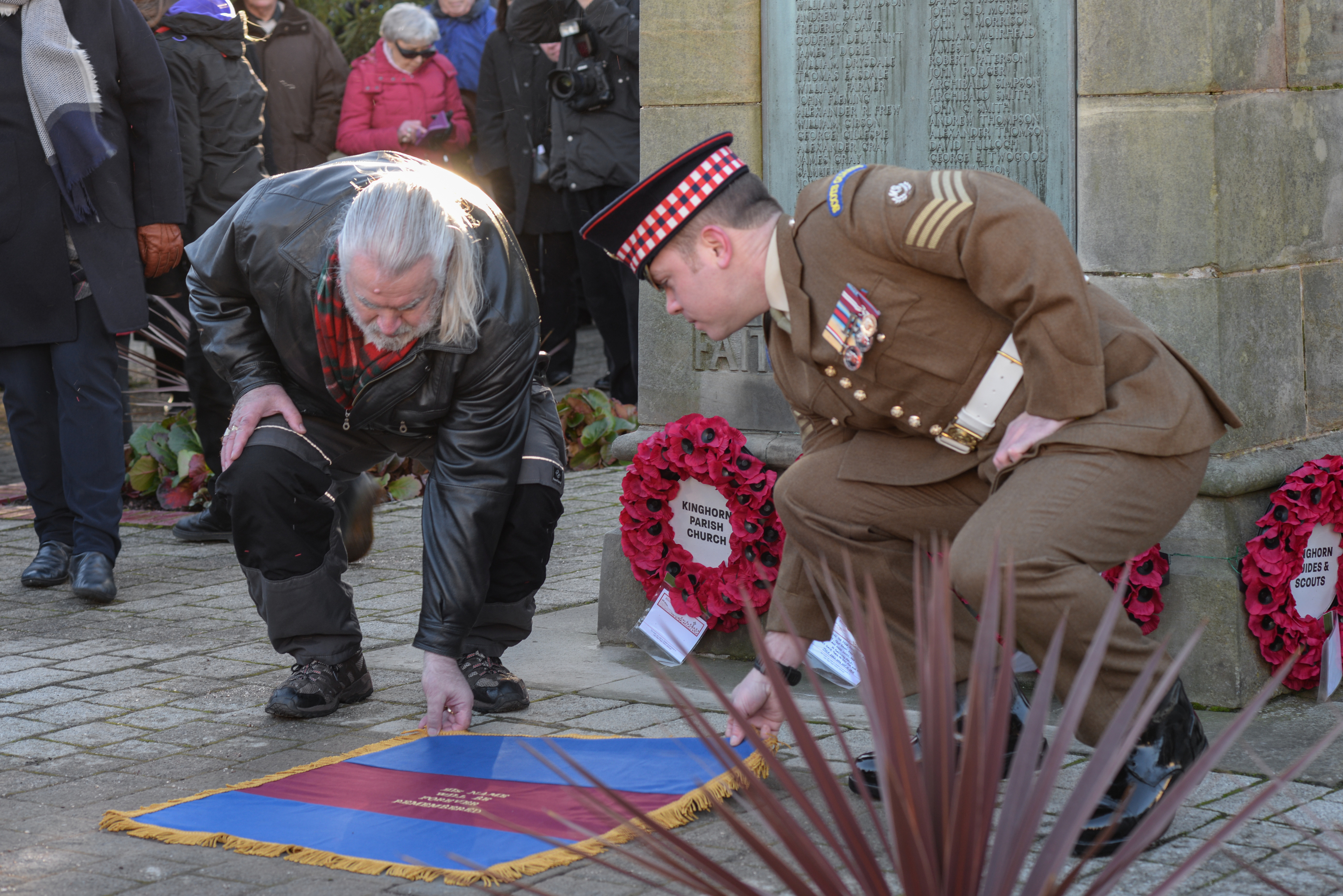 Descendent John (Ian) McAulay and Lance sergeant Alexander at unveiling of a commemorative stone for John Macaulay VC