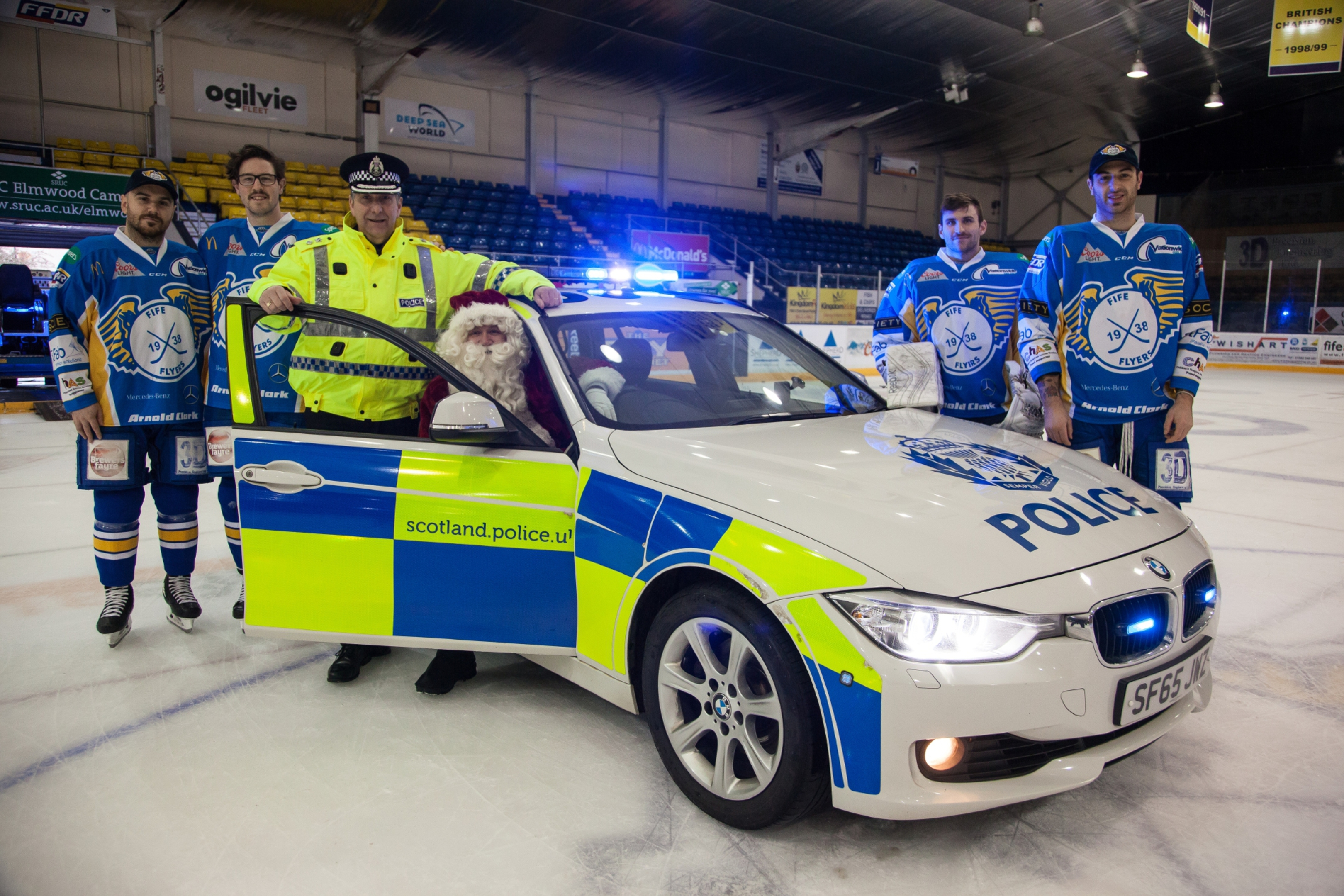 Chief Superintendent Colin Gall, Father Christmas and the Fife Flyers launch the Police Festive Safety campaign.