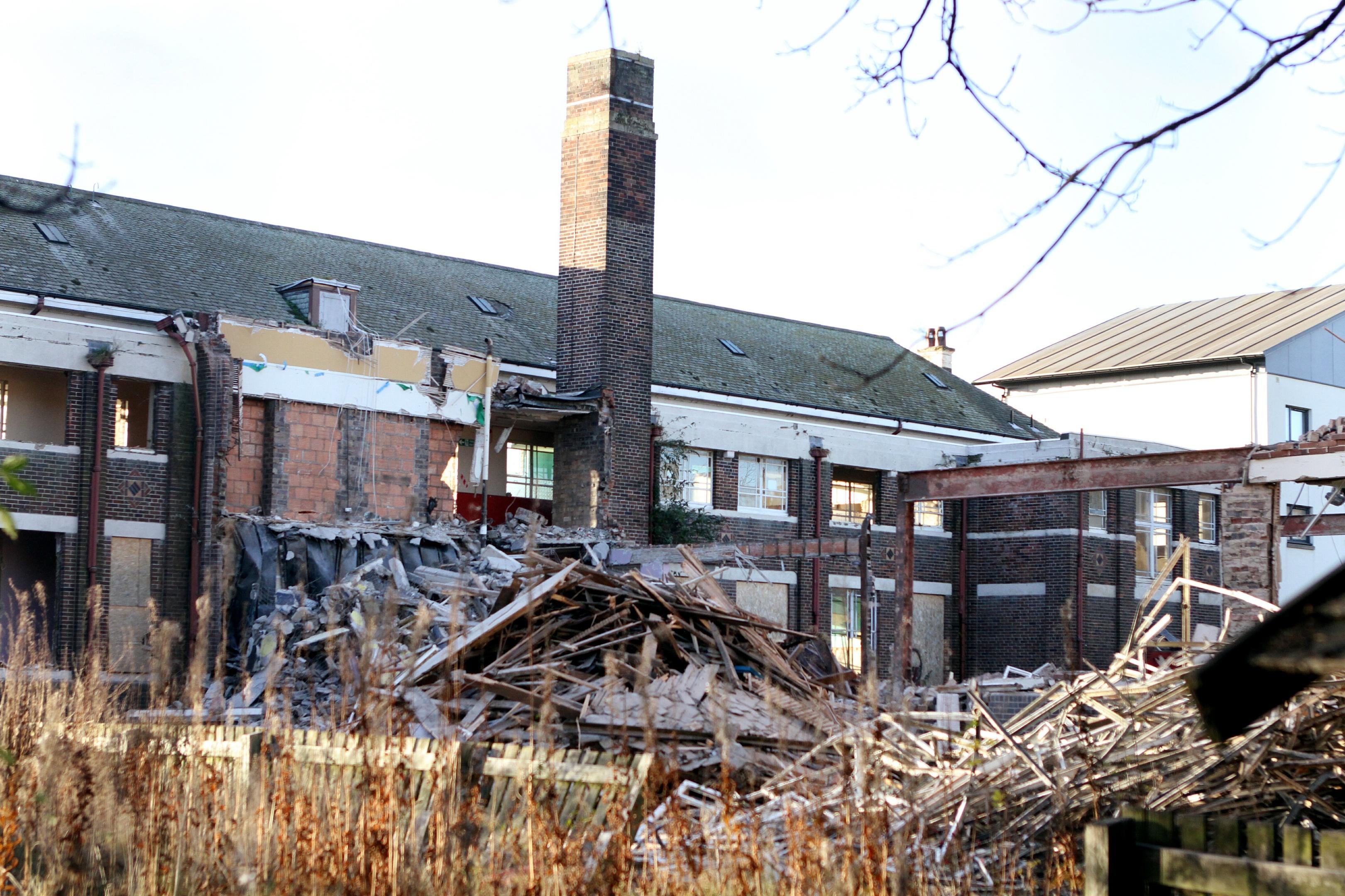 Demolition of the former St Joseph's Primary School in Bellfield Street.