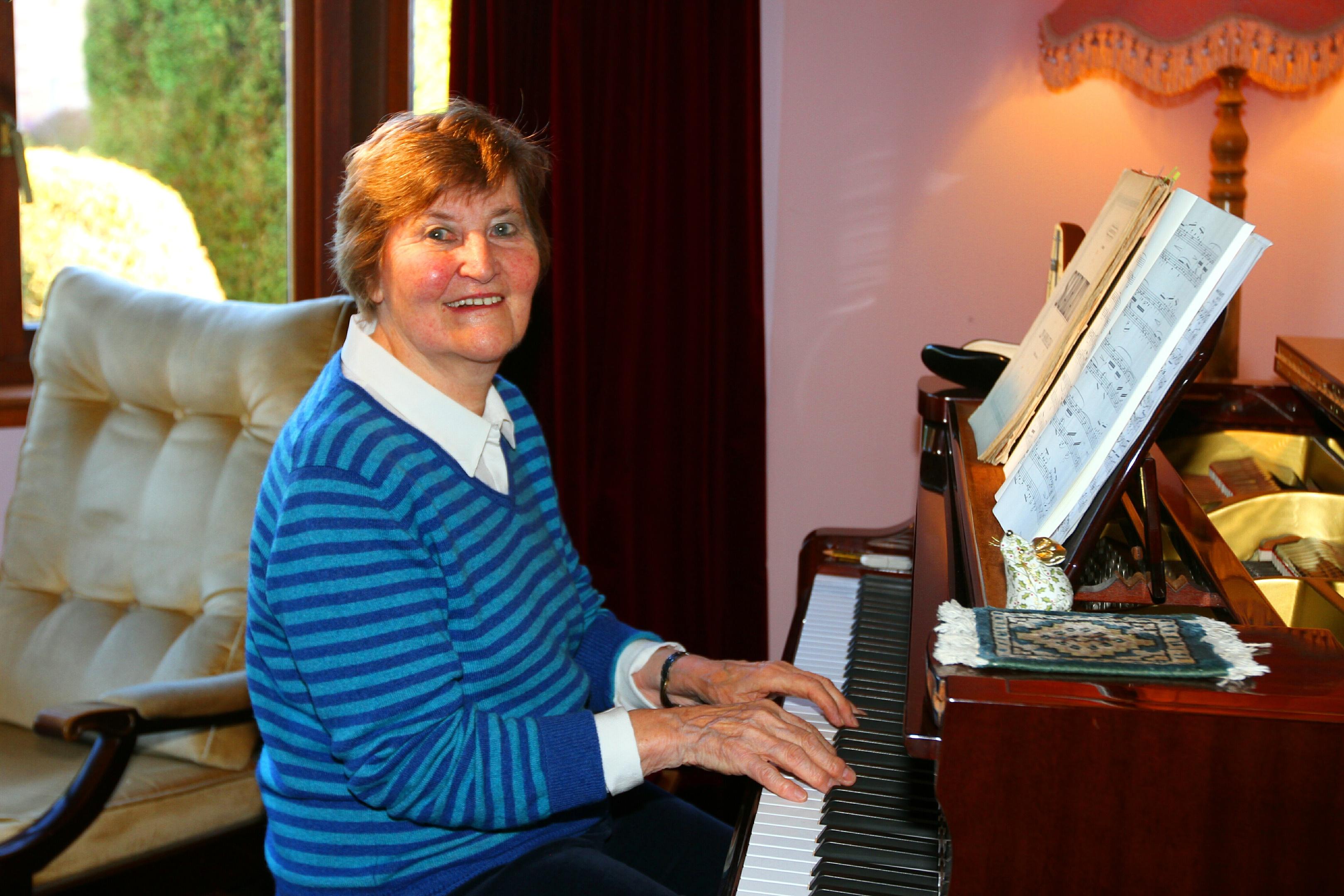 Sylvia Knox playing at home.