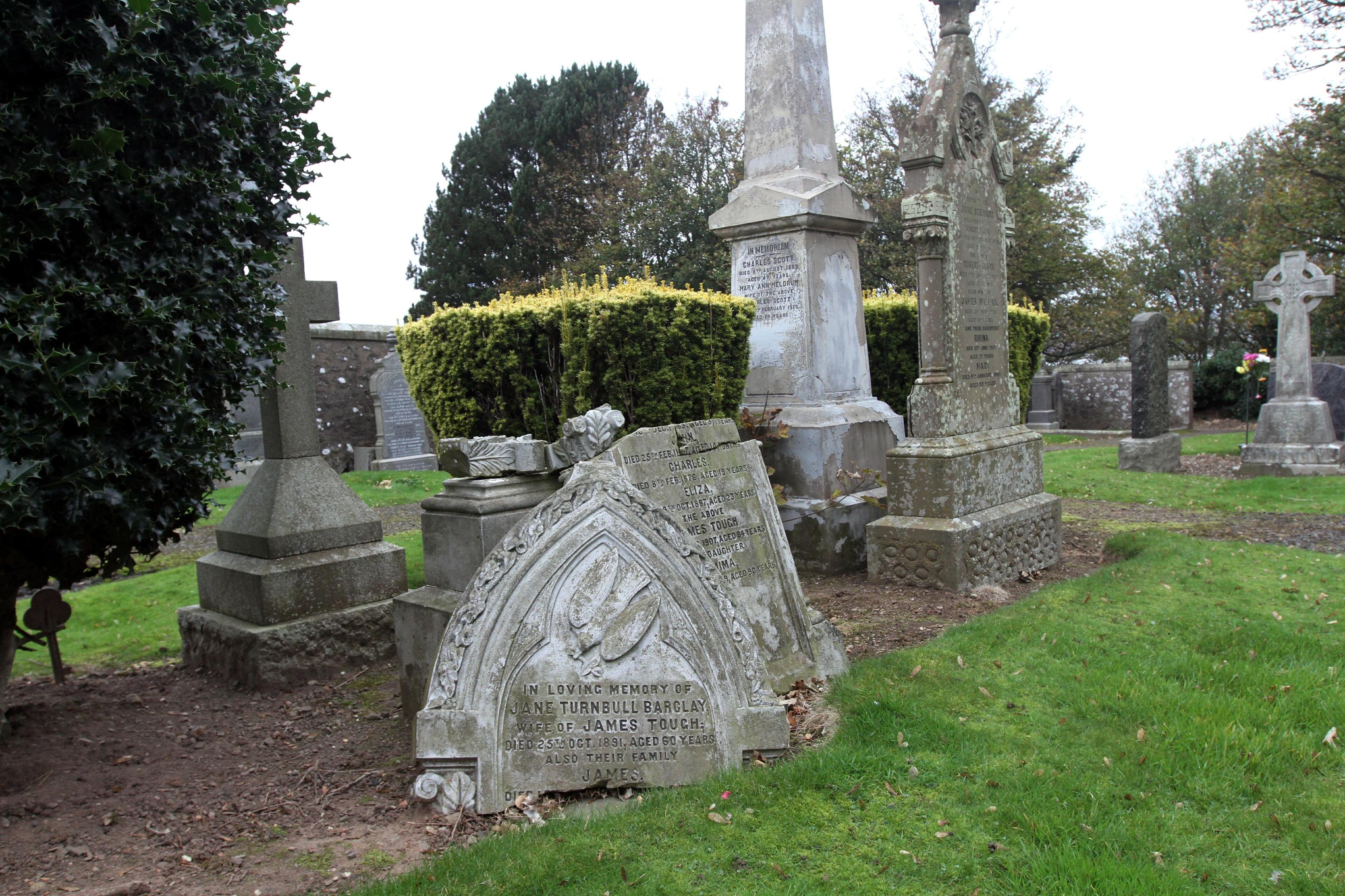 Dangerous headstones at Tayport Cemetery.