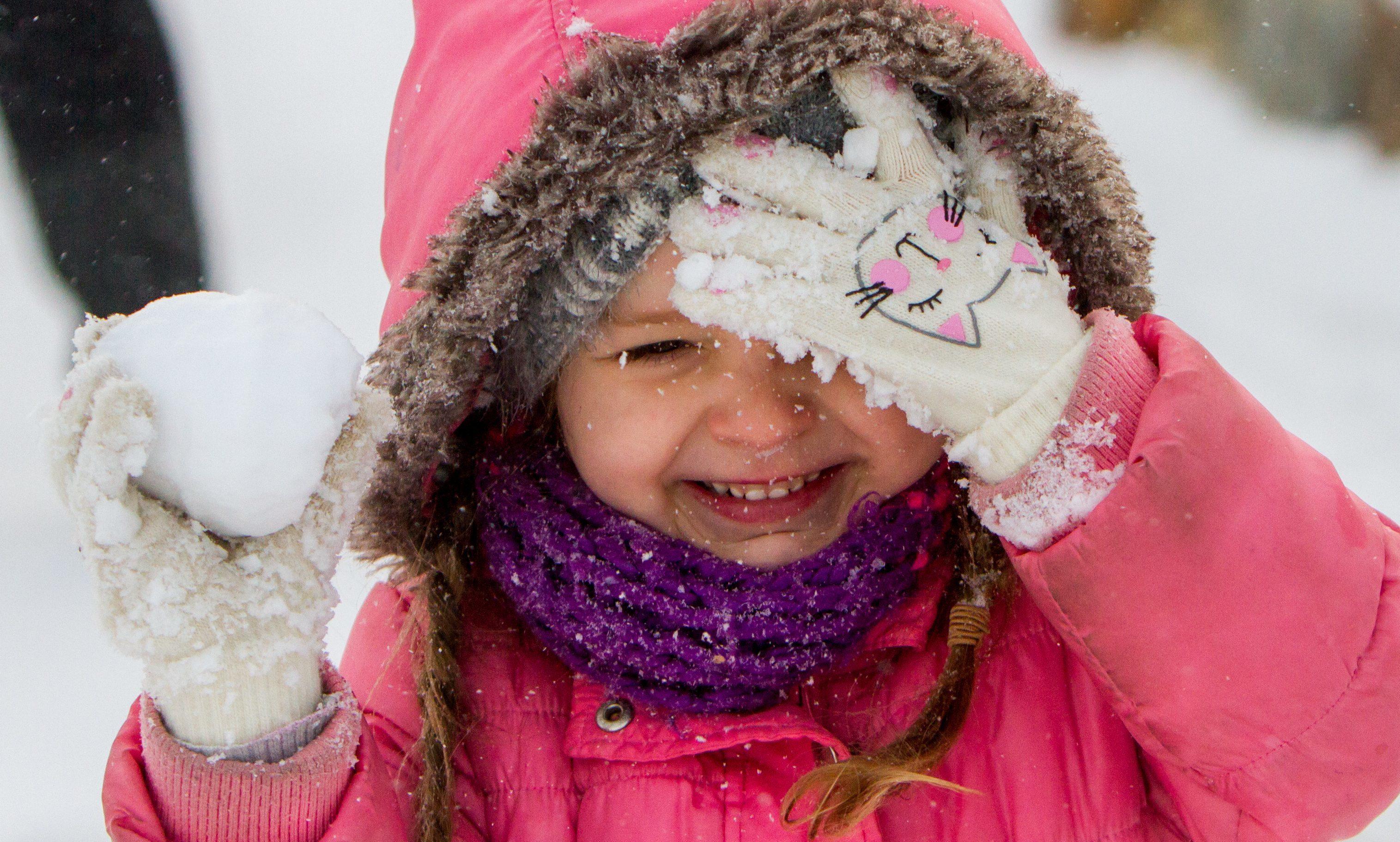 Sofia Upeniece, 4, from Aberdeen enjoying the snow.