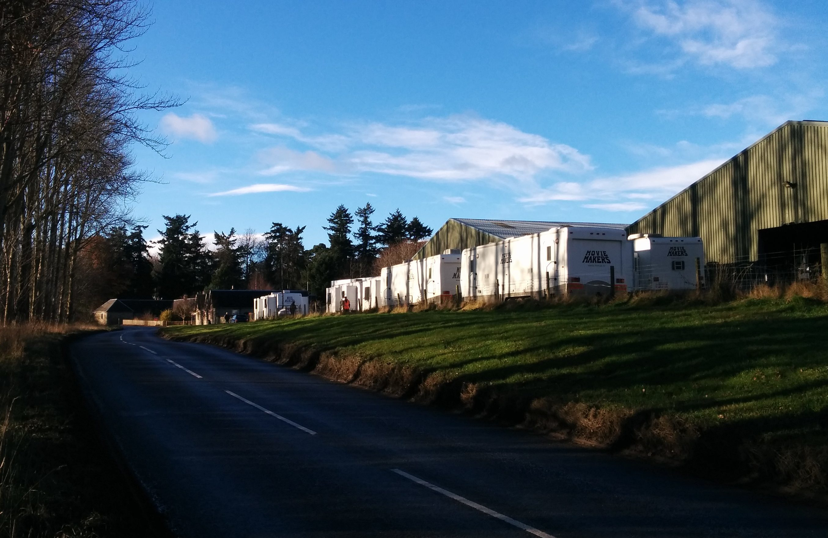 The film location units on the Stanley to Blairgowrie road near Ballathie.
