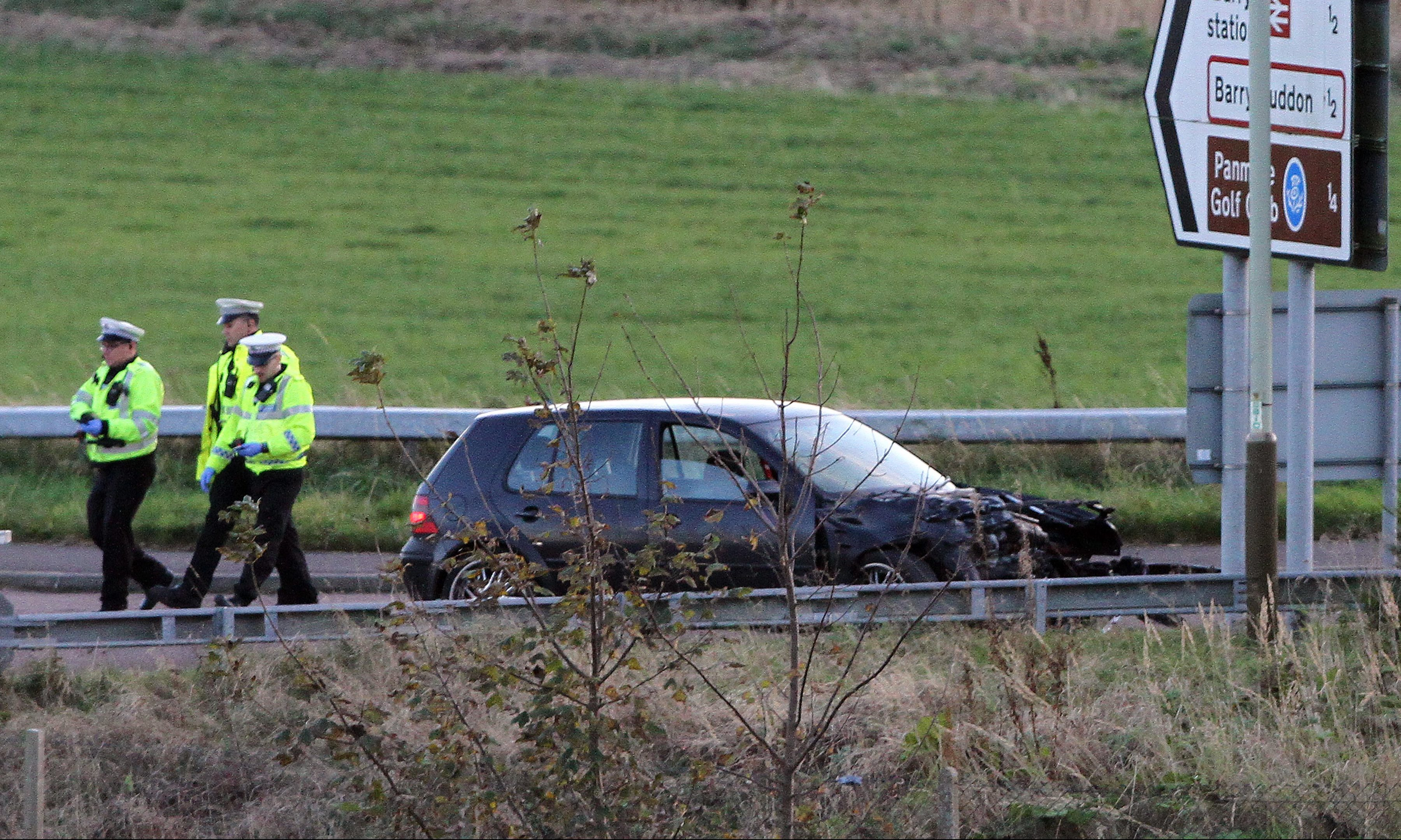 The car involved in the accident on the Barry bypass.