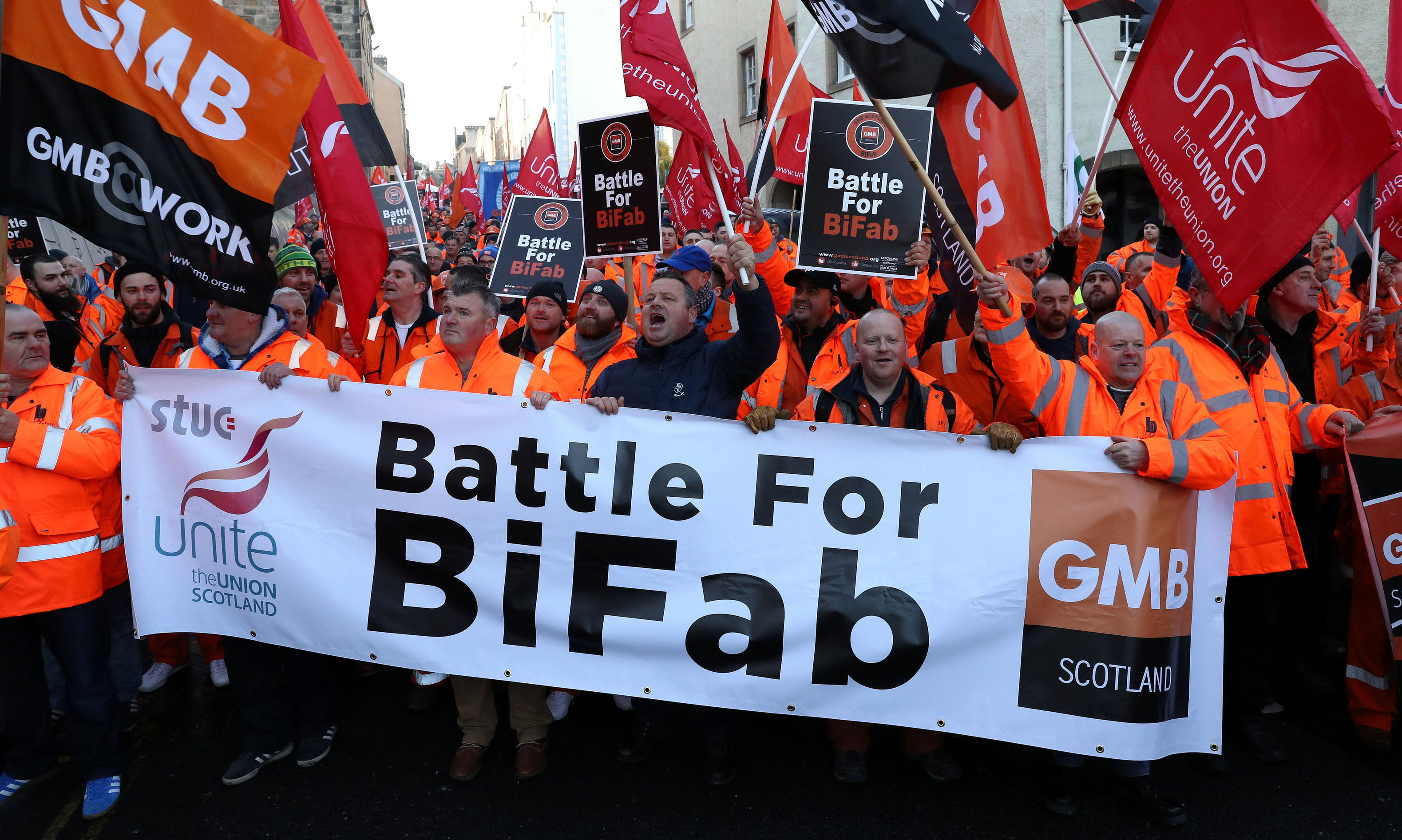 Workers from crisis-hit fabrication firm BiFab march through Edinburgh to the Scottish Parliament IN 2017.