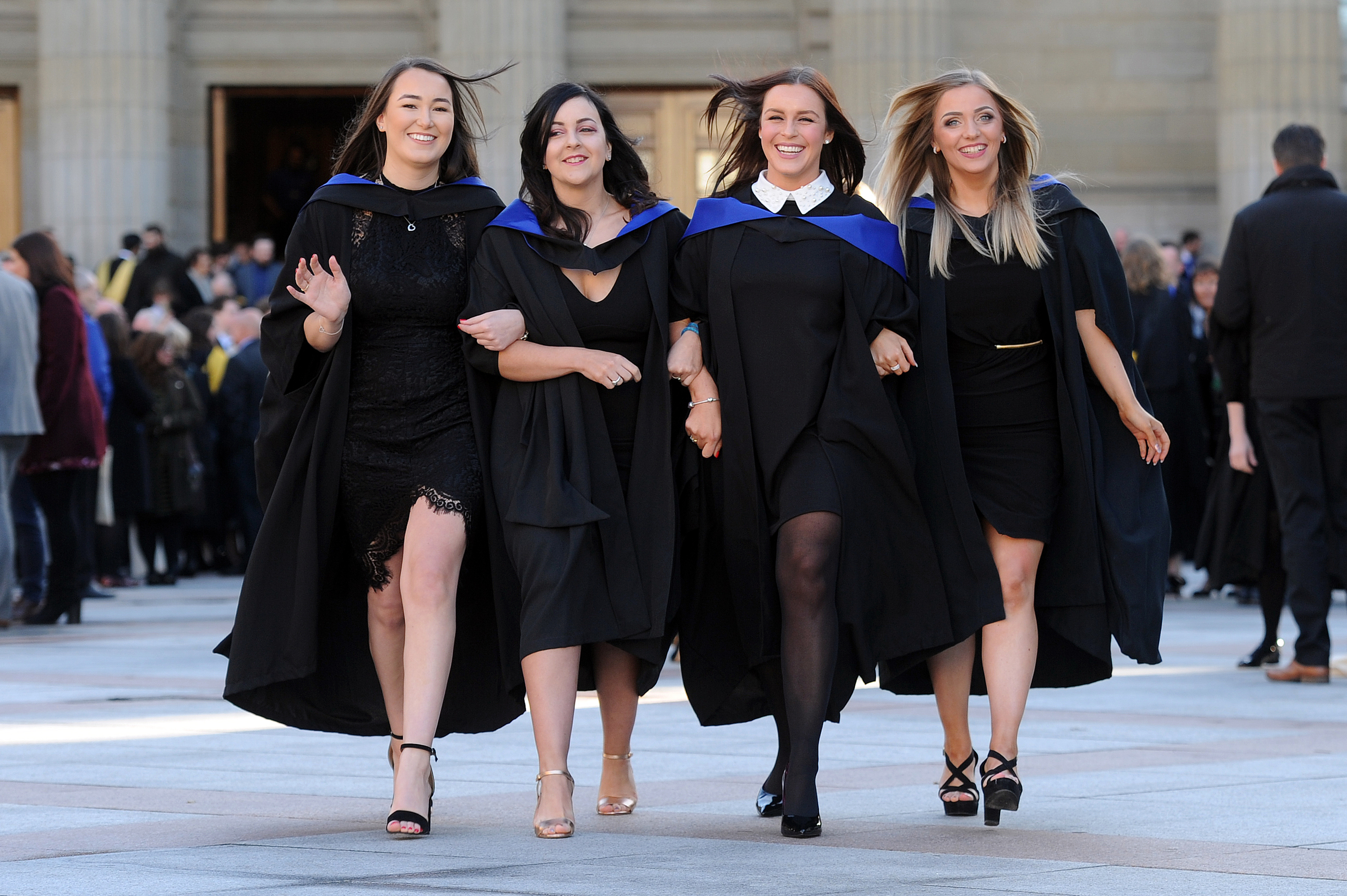 Dundee University held its Winter Graduation ceremony in the Caird Hall. Pictured are (L-R) Megan Brewer, Kathleen Duffy, Jenna Davidson and Caroline MacLean