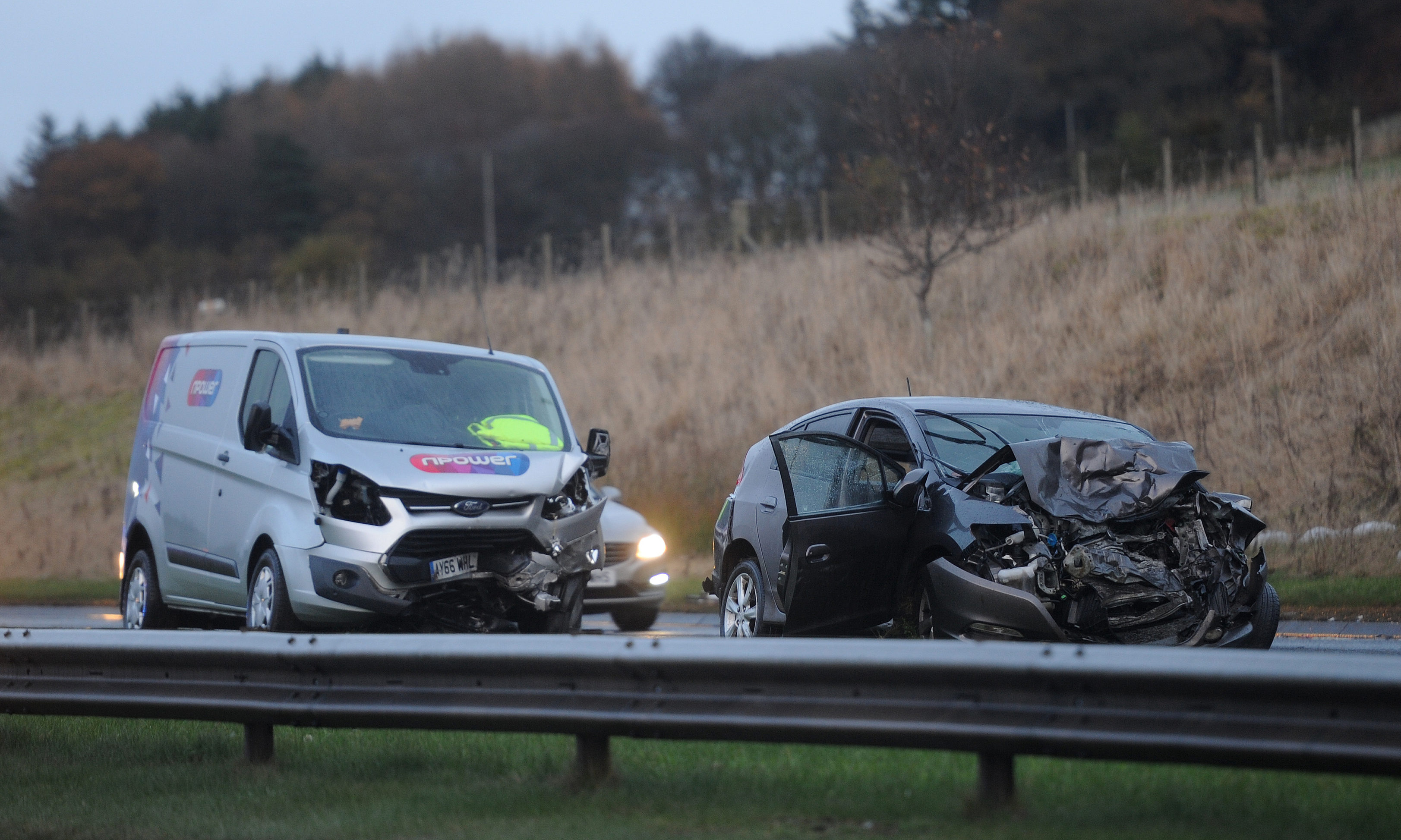 The scene of the accident on the A90 near Battledykes.