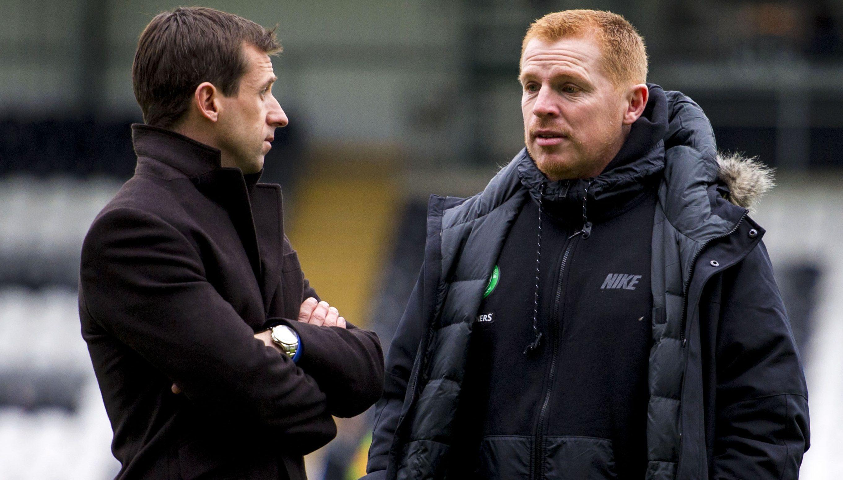 Neil McCann, left, and Hibs boss Neil Lennon.