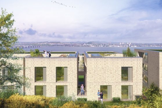 An artist's impression of how the flats could look, and the view over to Dundee.