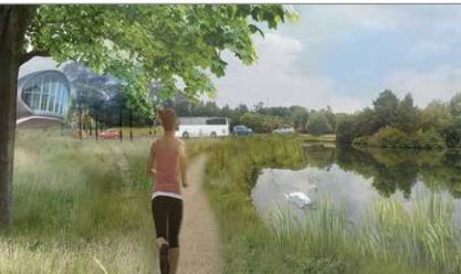 An artist's impression of the proposed North Haugh park flanking the link road