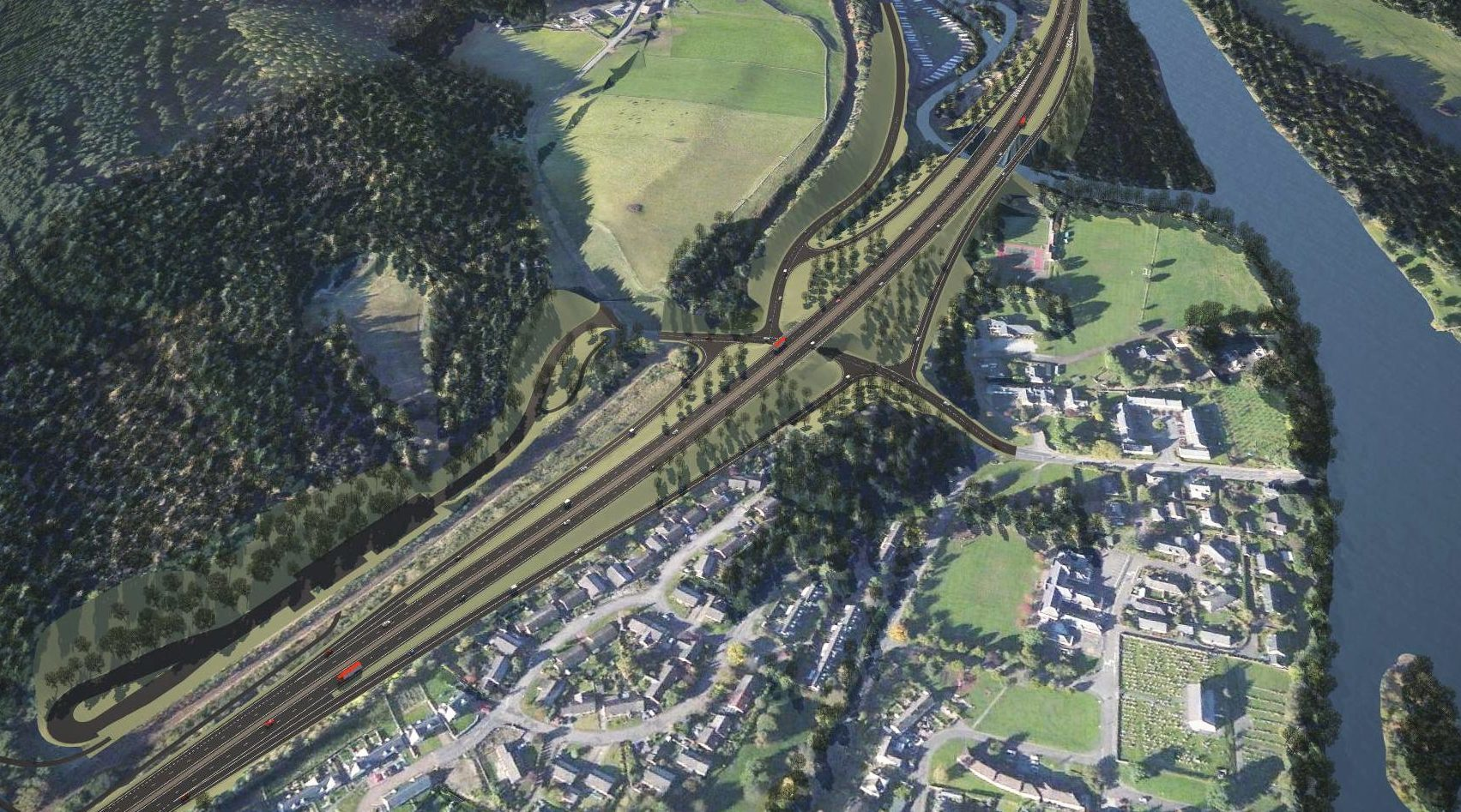 One of the options for the Pass of Birnam to Tay Crossing section of the A9 dualling