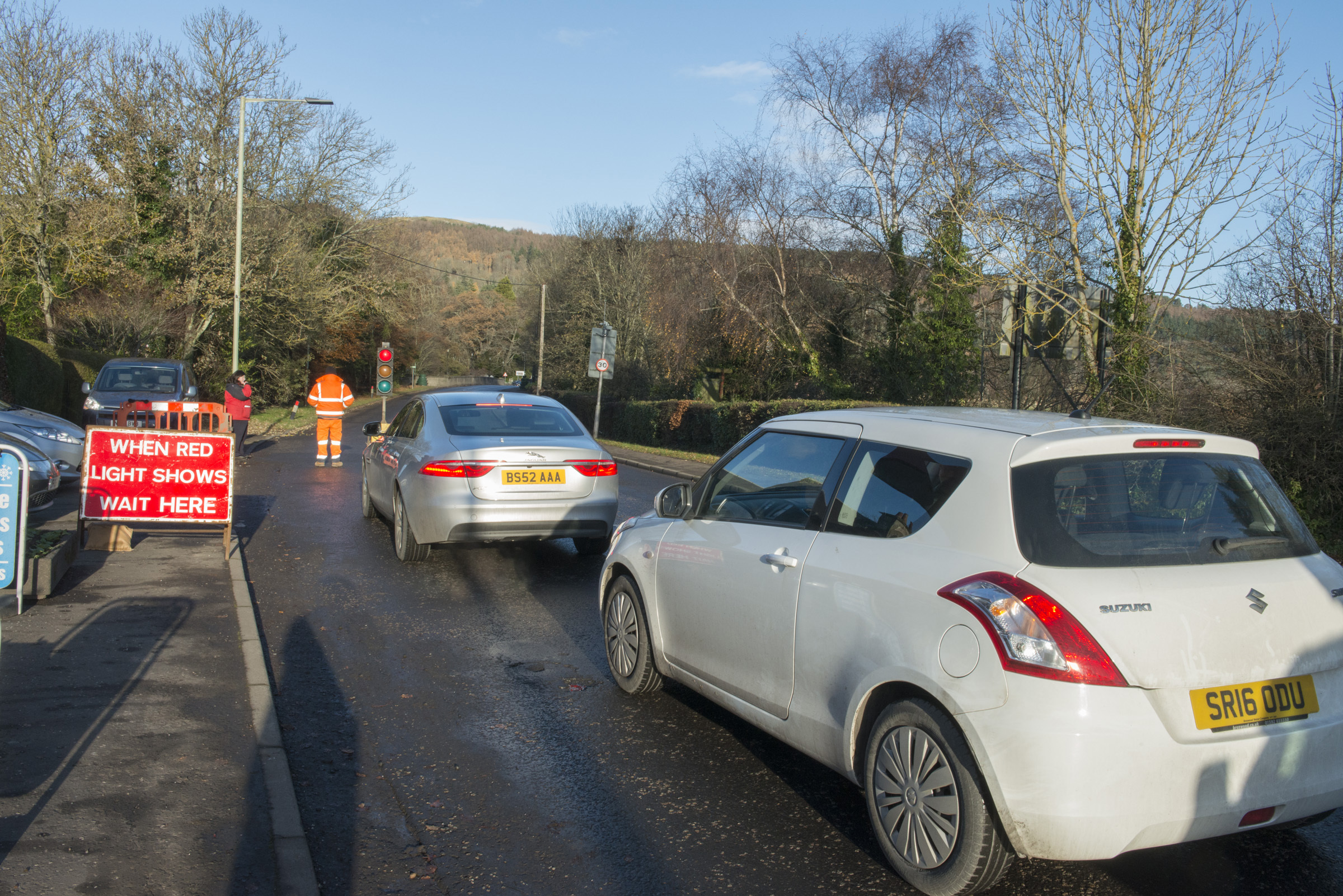 Traffic is stopped on the main road as Outlander filming takes place at the River Edge Lodges, Bridge of Earn by Perth.