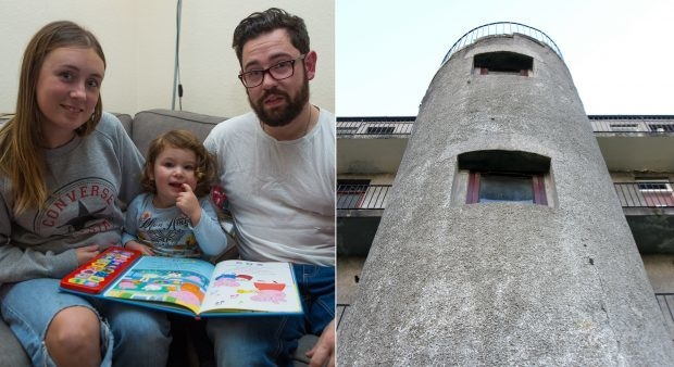Emma Barry and Jamie Macmillan with daughter Sophia. They found out in The Courier that their home is to be demolished because of the conditions of their block's external stairwell.