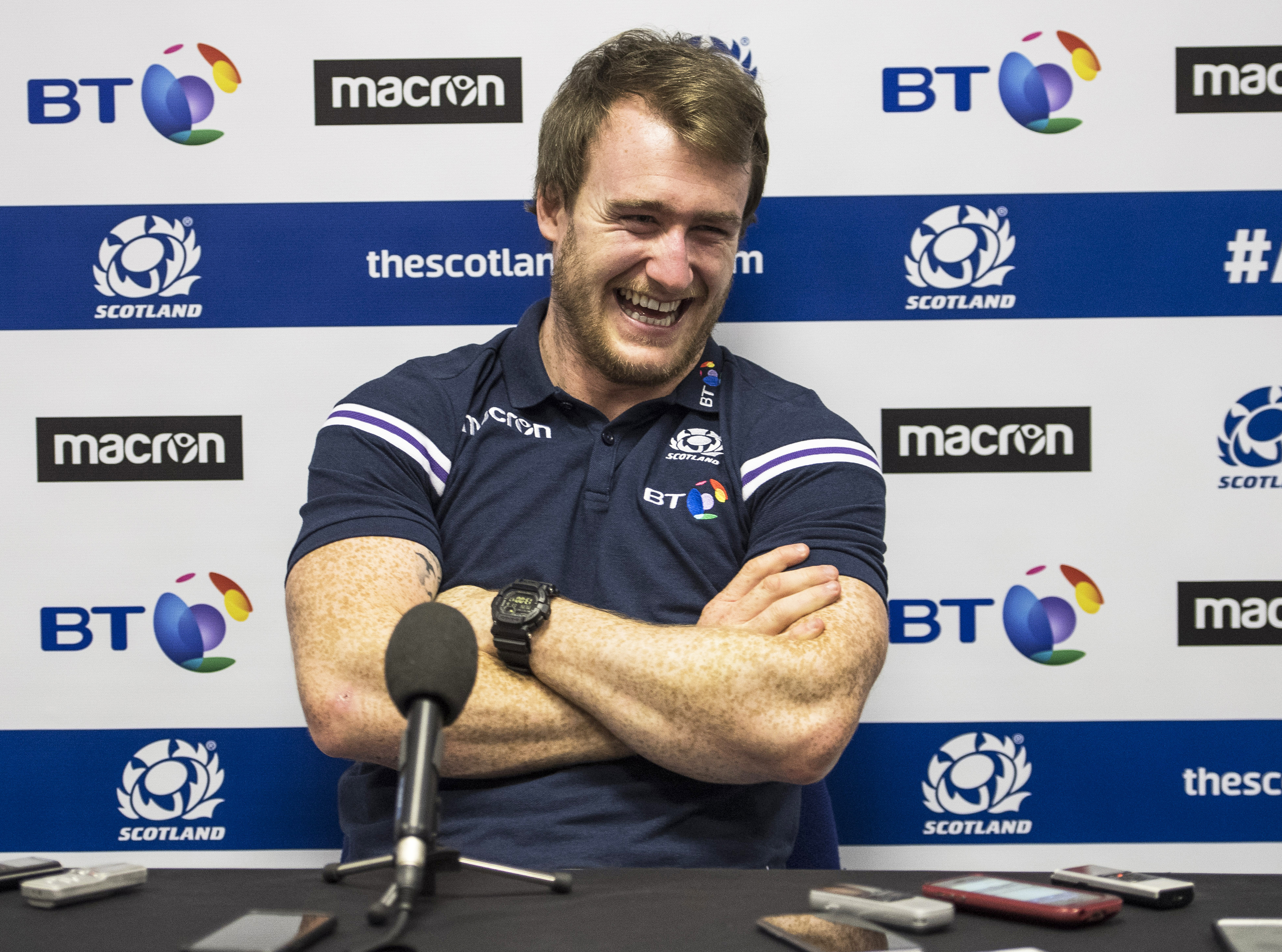 Scotland's new slimline Stuart Hogg jokes wiht the media yesterday.