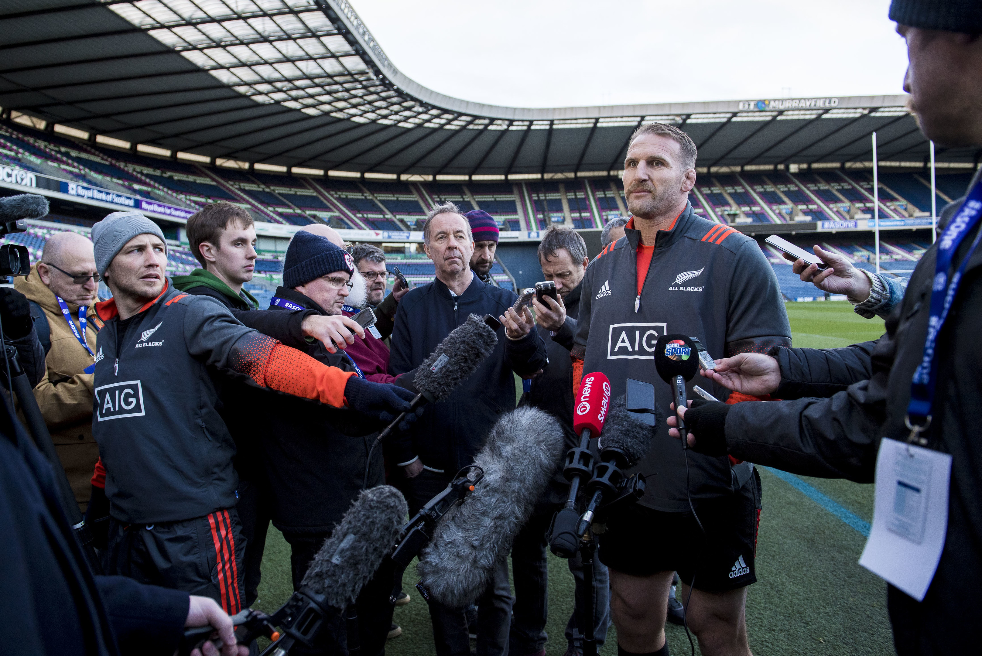 New Zealand captain Kieran Read speaks to the press at Murrayfield yesterday.