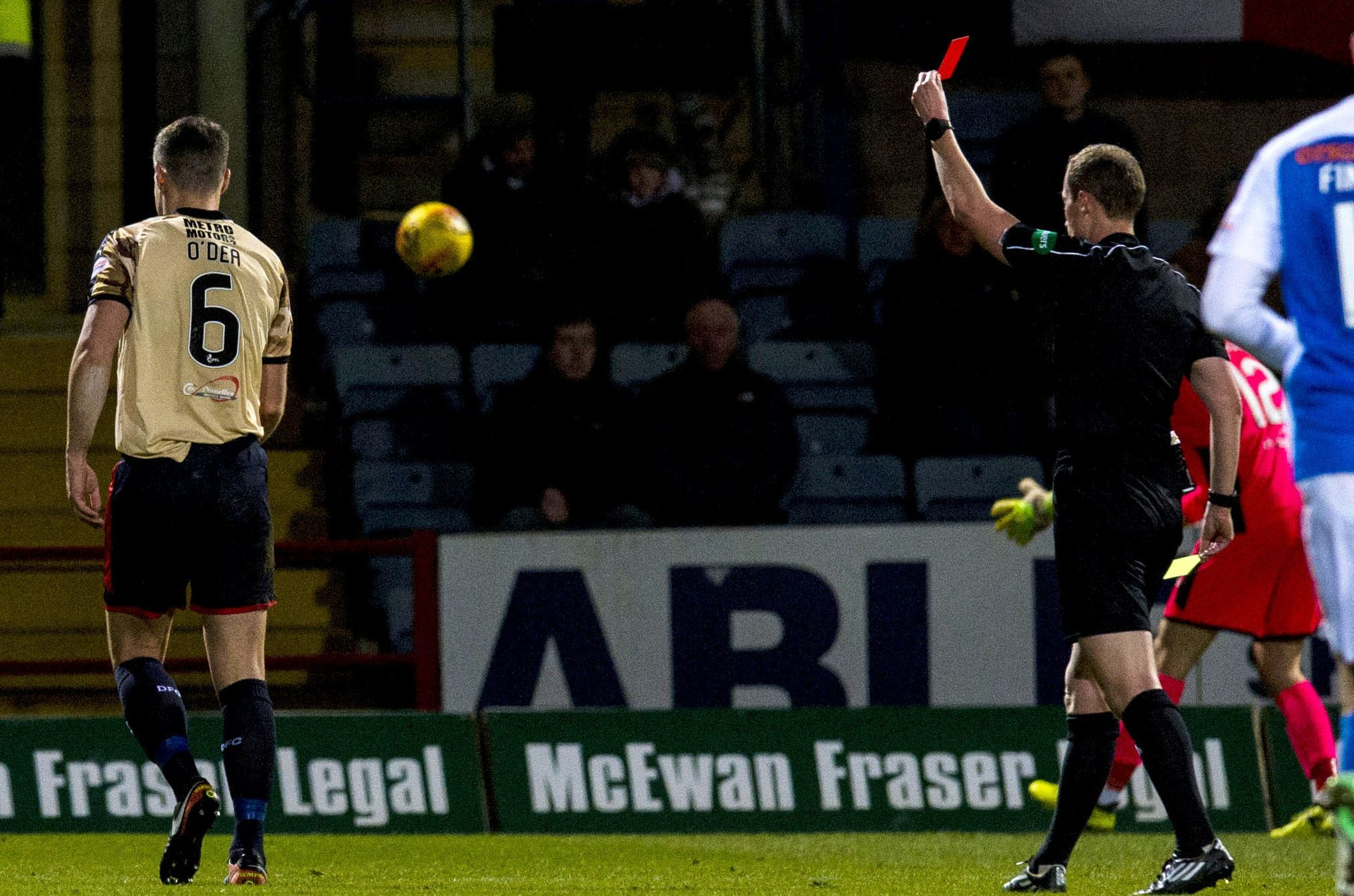 Darren O'Dea is shown a red card by referee Willie Collum.