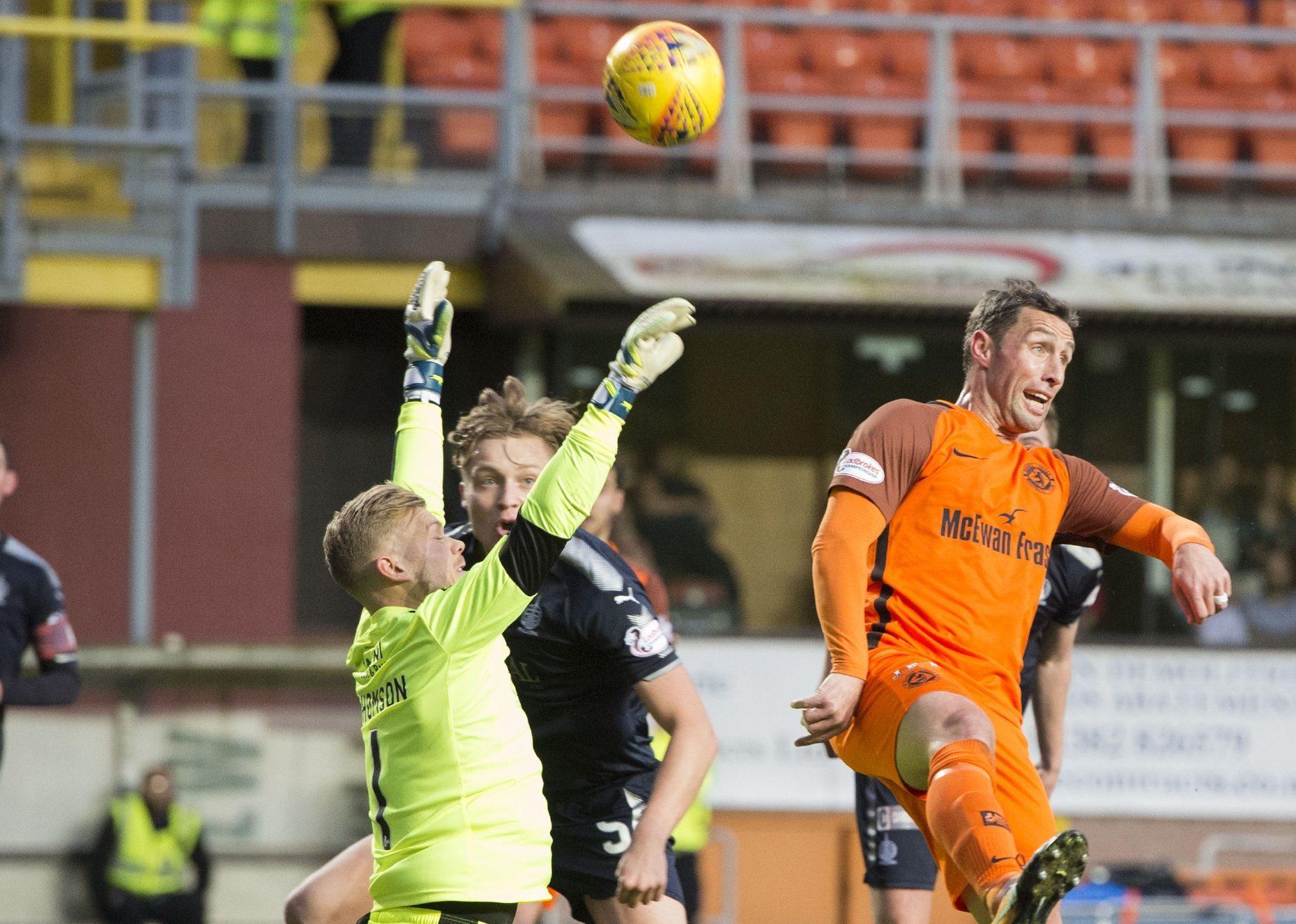 Scott McDonald opens the scoring against Falkirk.
