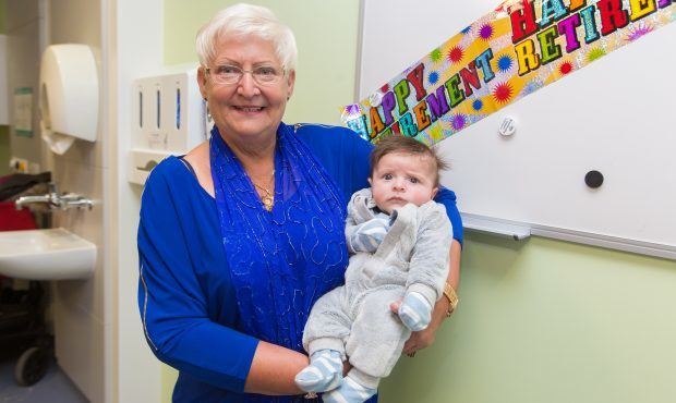 Joan Taylor was joined at an event to celebrate her retiral by her mums and babies, including eight-week-old Jack Fotheringham