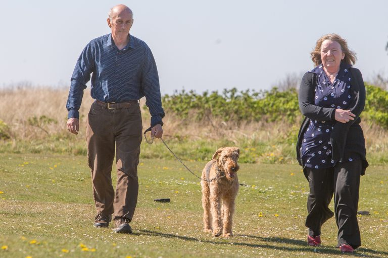 Ken Goswell from Inverkeiller with his Airedale terrier Peggy and Wendy Turner, secretary of Airedale Terrier Club Scotland