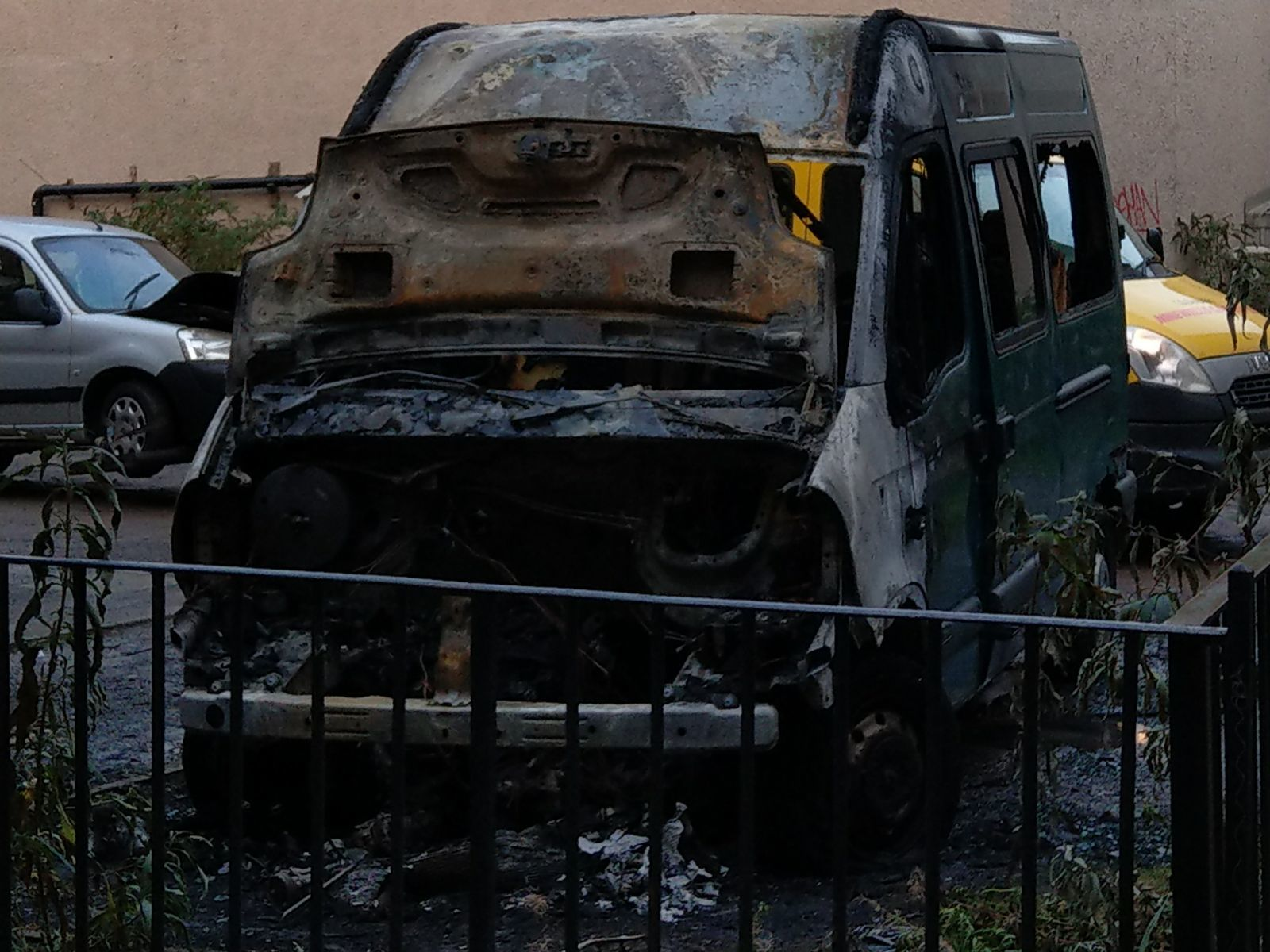 The van was completely destroyed in the fire.