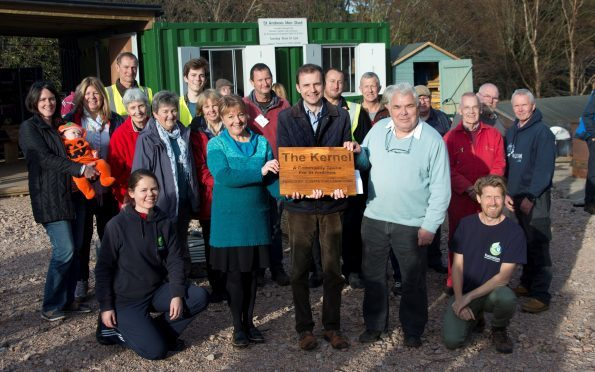 Members of all the groups involved with developing the new Kernel space at the St Andrews Botanic Garden with Stephen Gethins MP