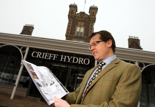 Stephen Leckie with plans for Crieff Hydro East.